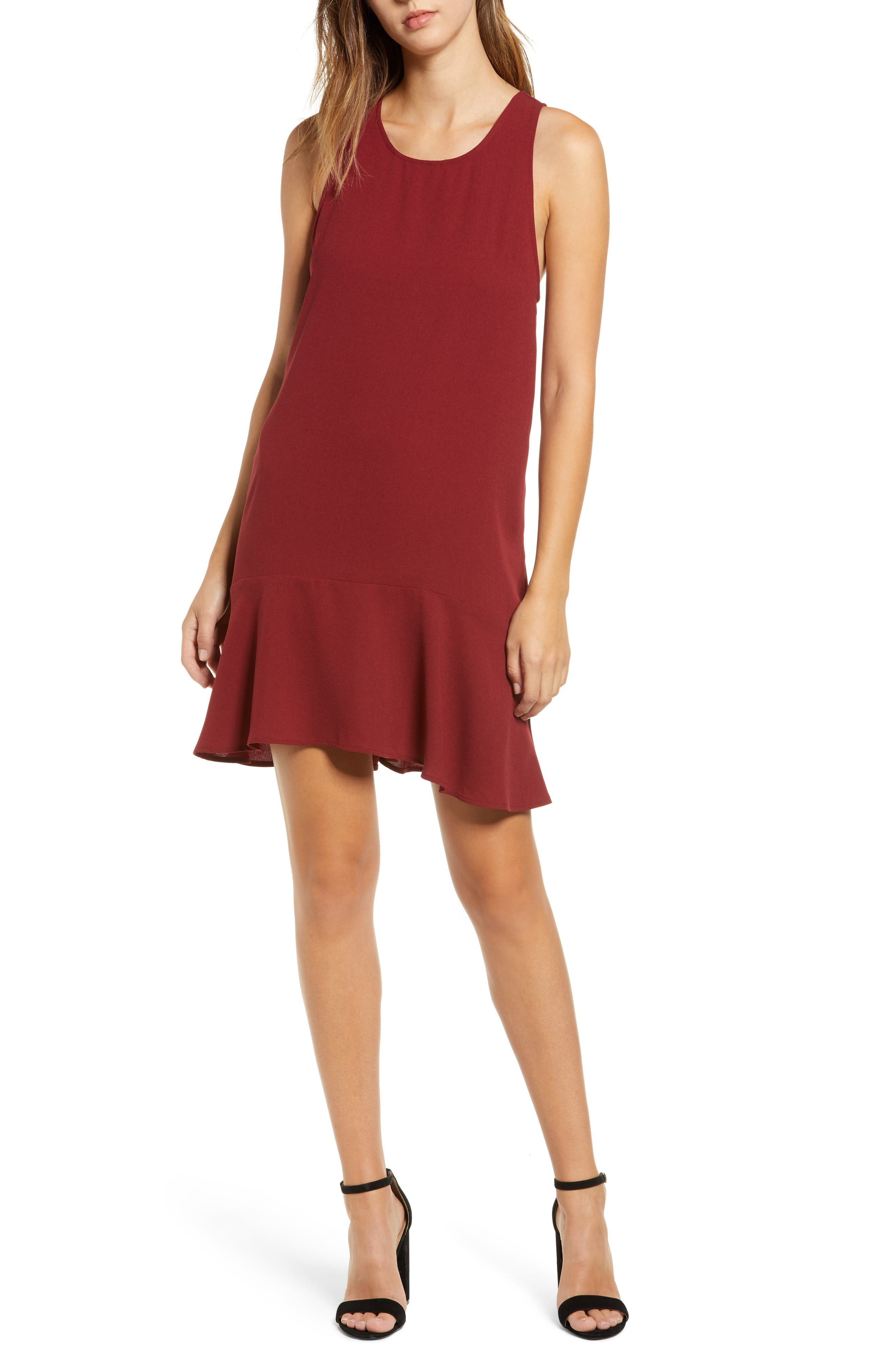 Leith Flounce Hem Dress, Red