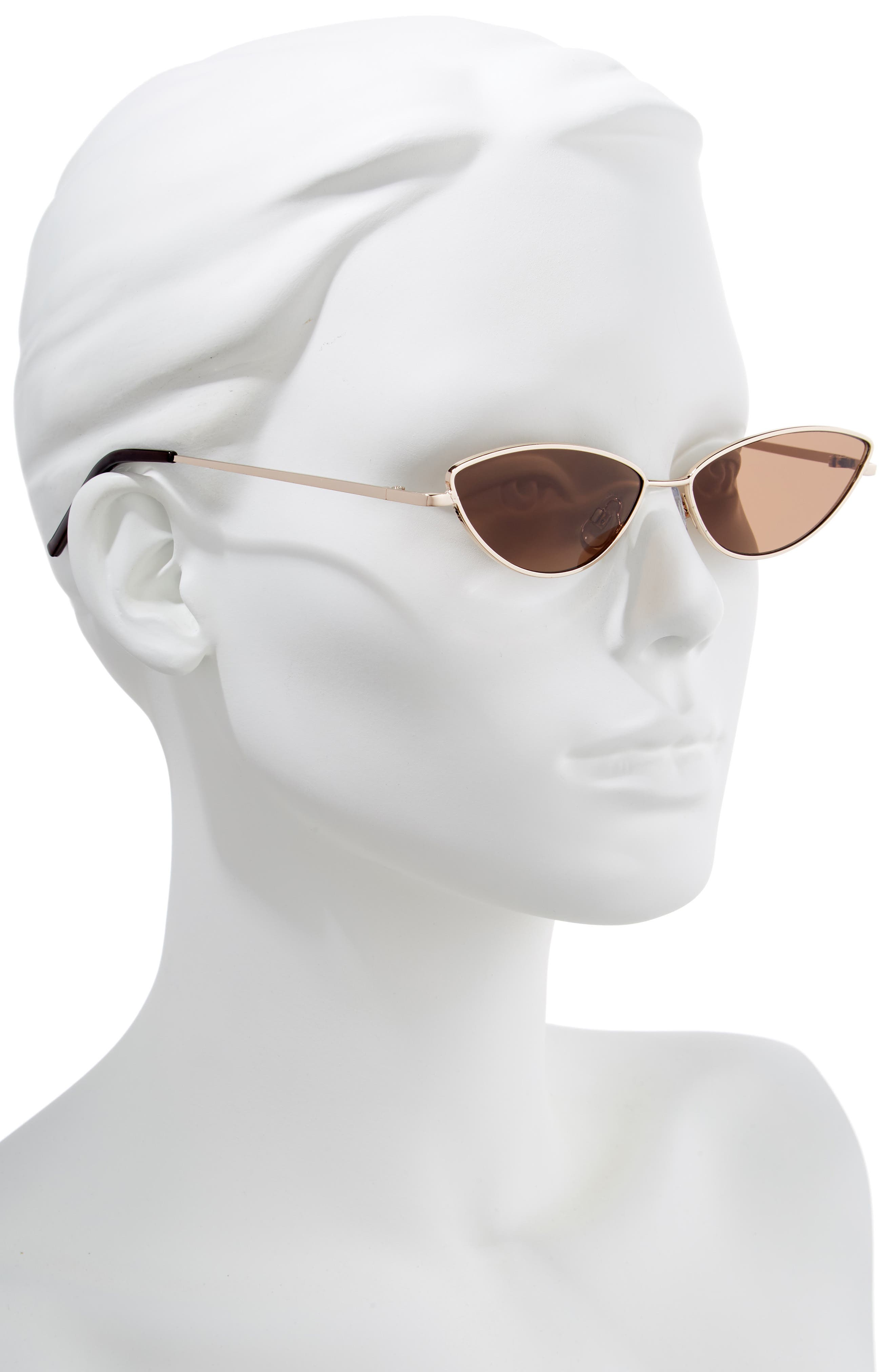 57mm Wide Cat Eye Sunglasses,                             Alternate thumbnail 2, color,                             GOLD/ BROWN