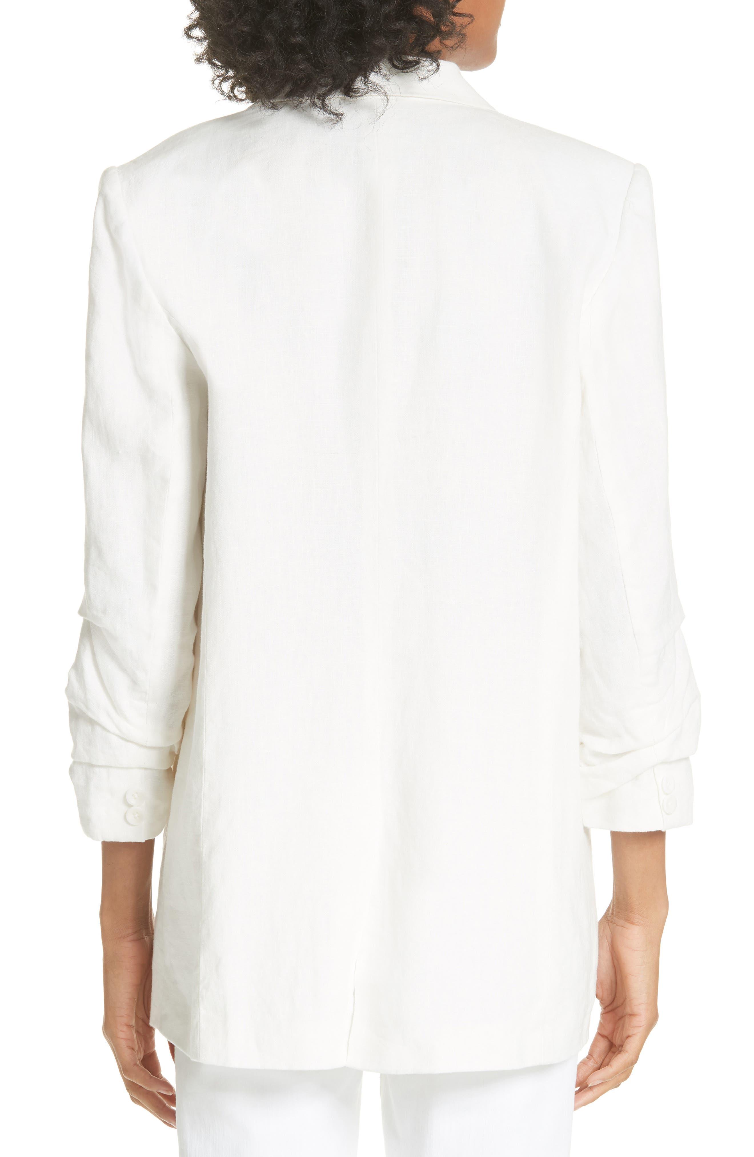 Kishina Ruched Sleeve Linen Blazer,                             Alternate thumbnail 2, color,                             903