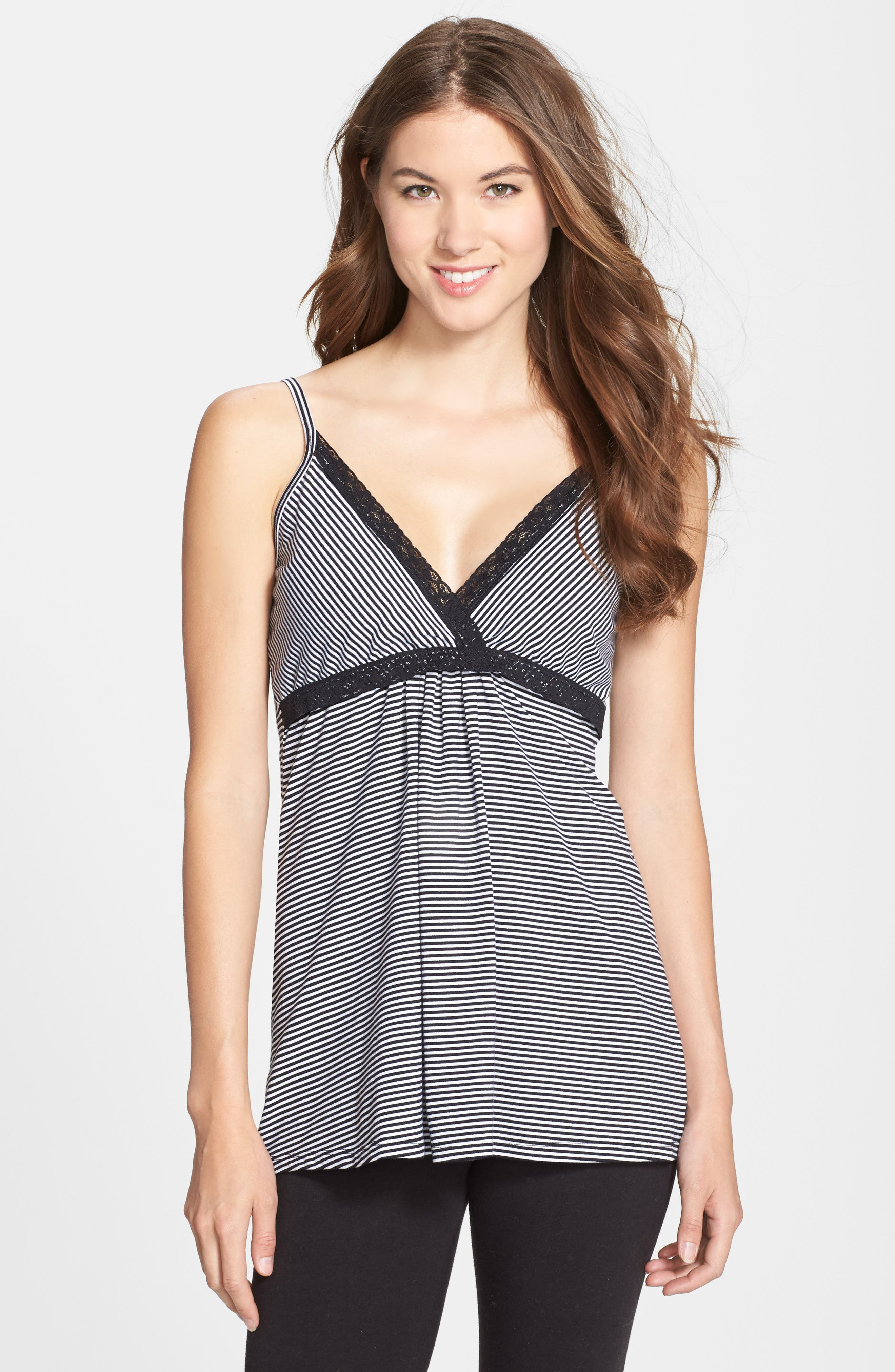 'Before & After' Maternity & Nursing Cami,                         Main,                         color, BLACK STRIPE