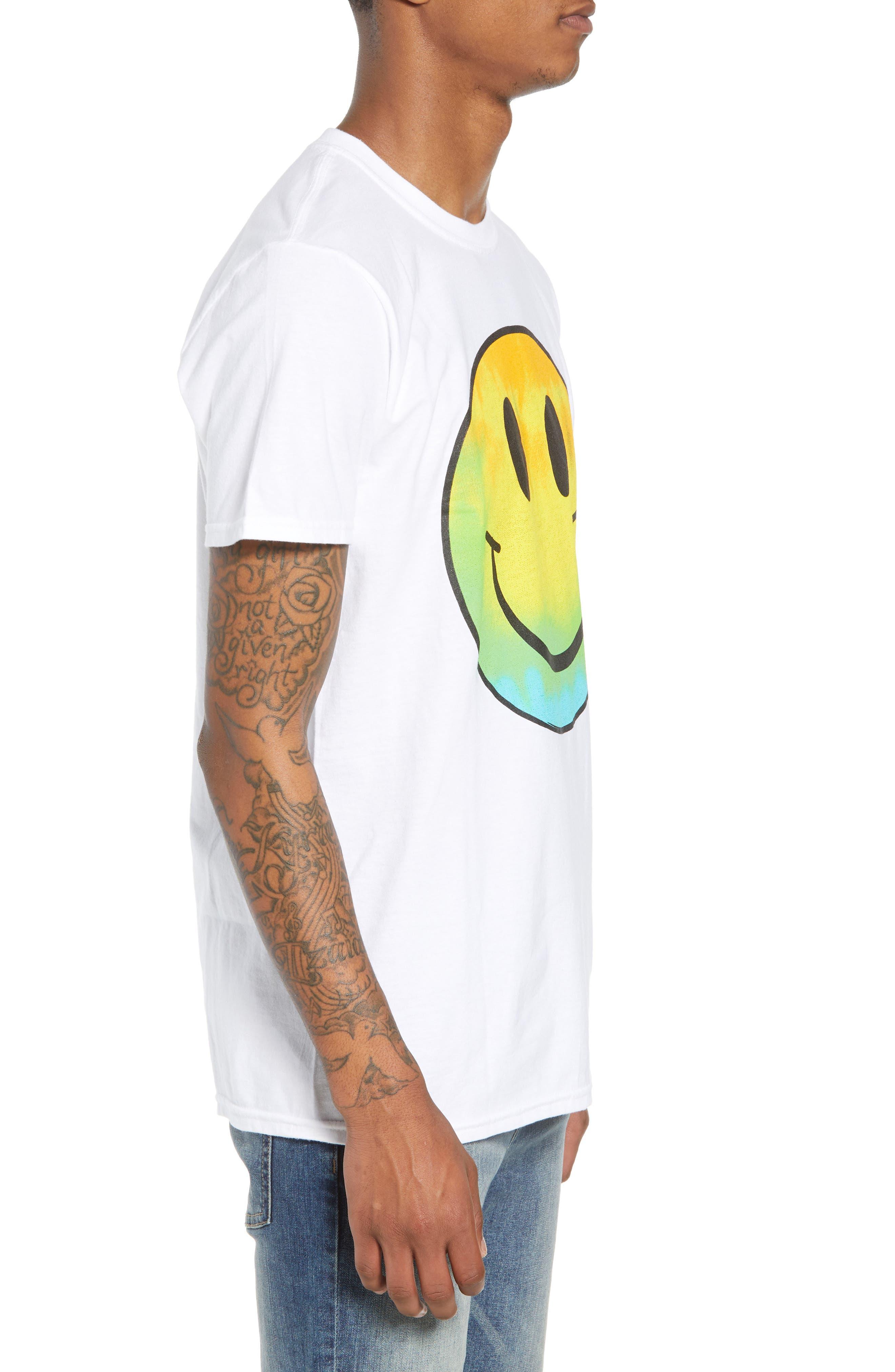 Tie Dye Smiley Face T-Shirt,                             Alternate thumbnail 3, color,                             100