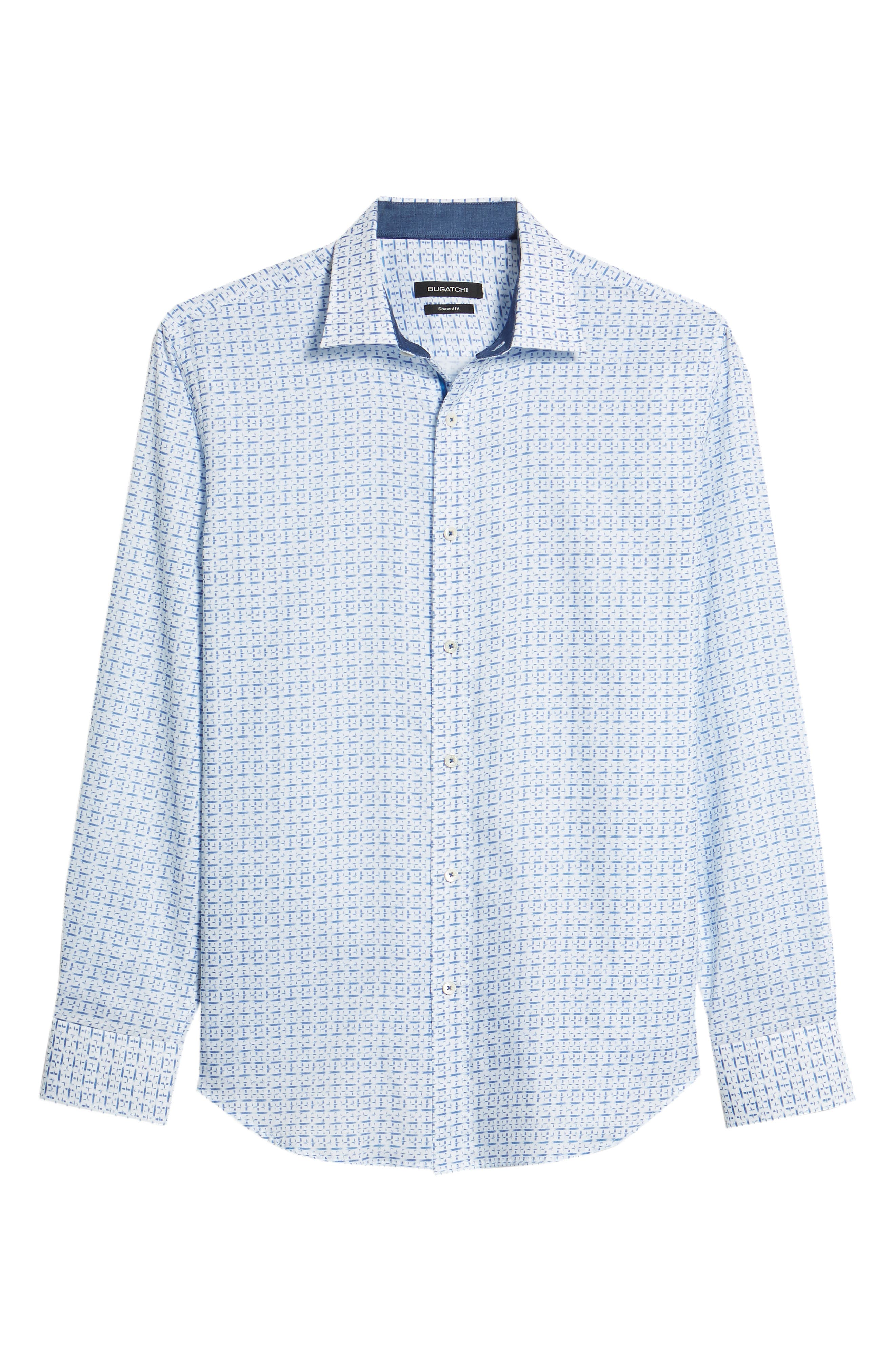 Shaped Fit Print Sport Shirt,                             Alternate thumbnail 6, color,                             CLASSIC BLUE