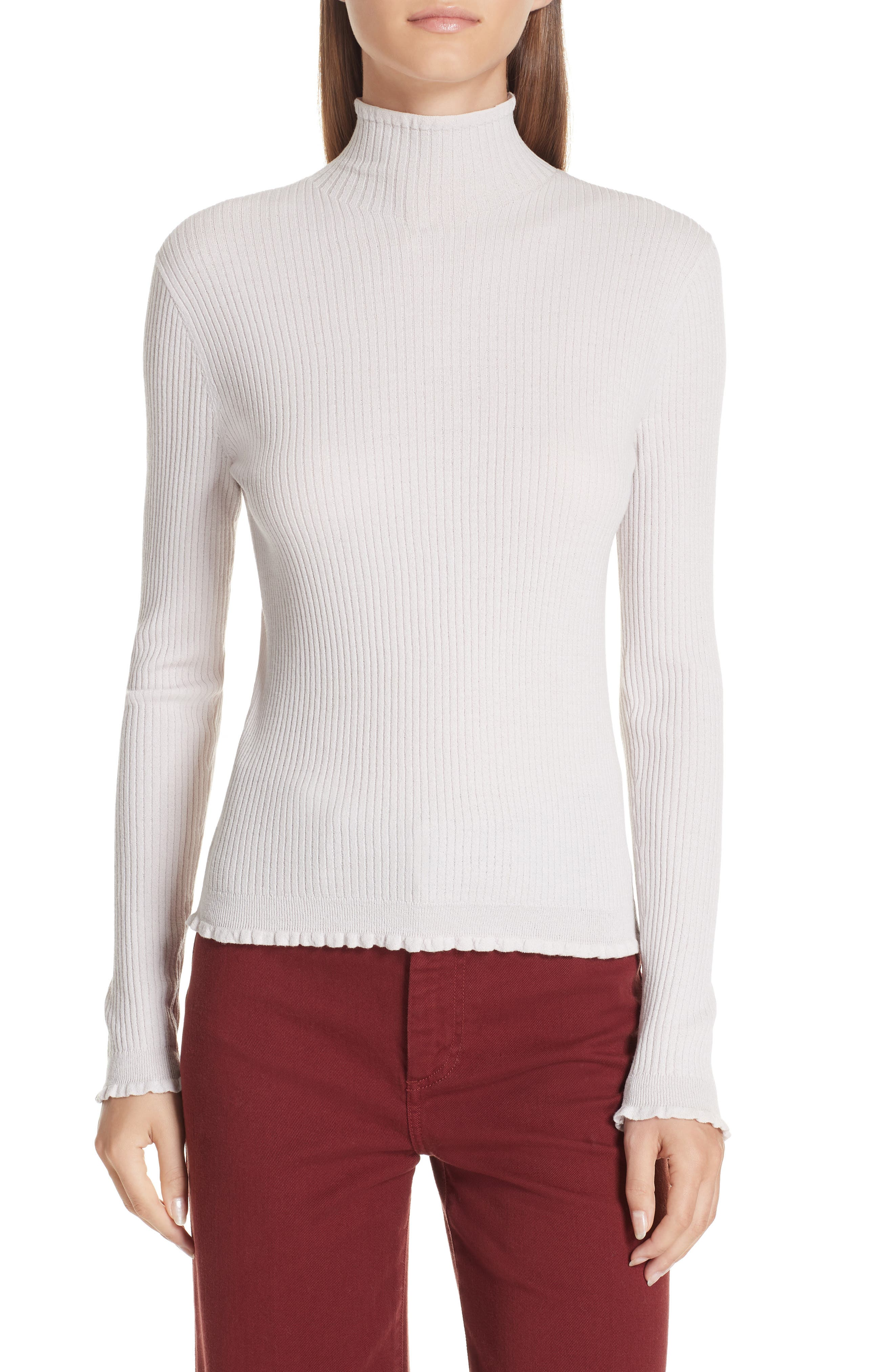 VINCE Lettuce Edge Mock Neck Merino Wool Sweater, Main, color, STUCCO