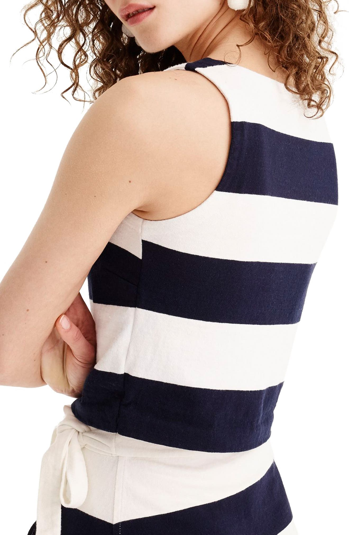 Crop Rugby Stripe Tank,                             Alternate thumbnail 2, color,