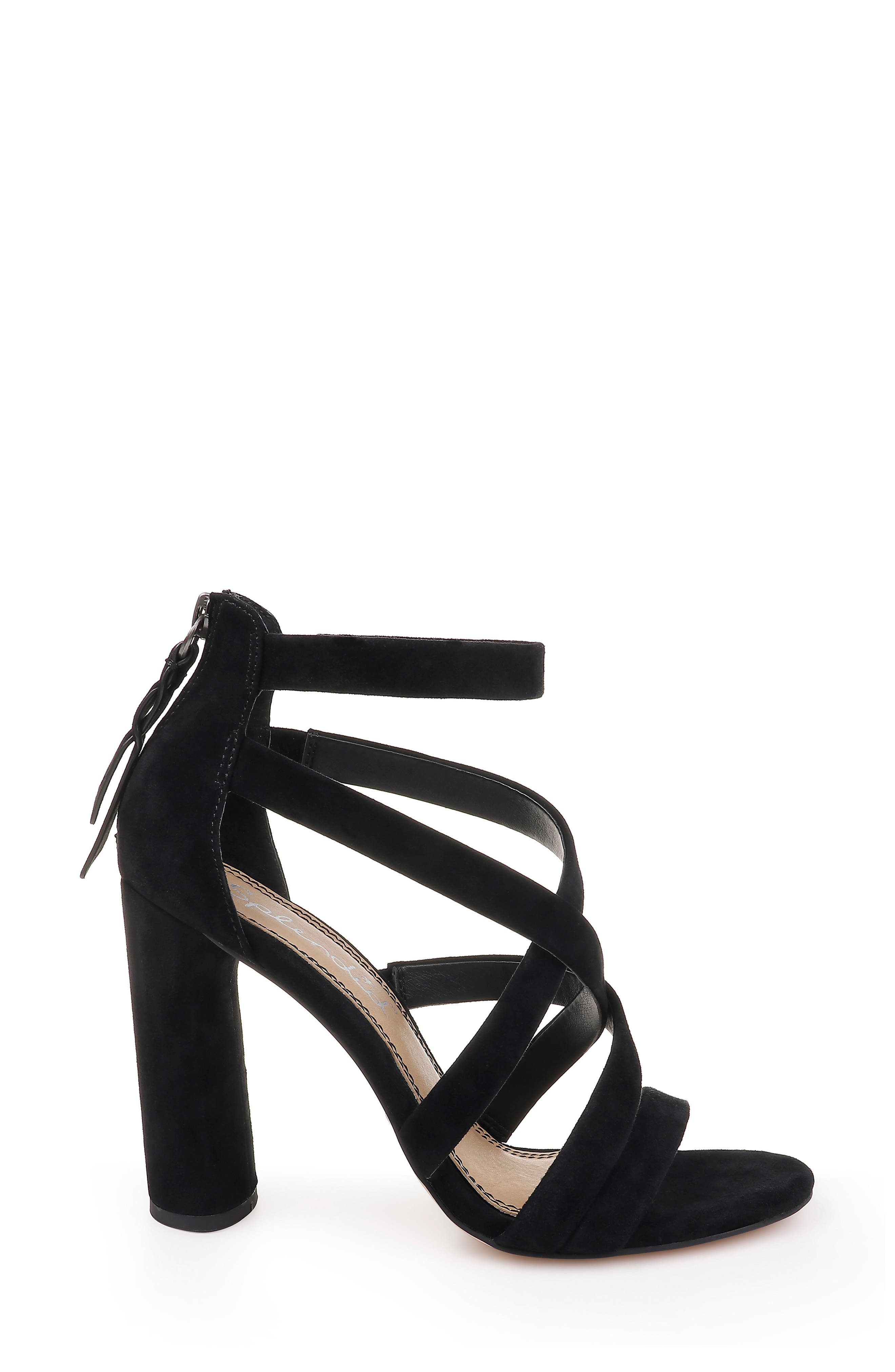 Stuart Block Heel Sandal,                             Alternate thumbnail 3, color,                             BLACK SUEDE