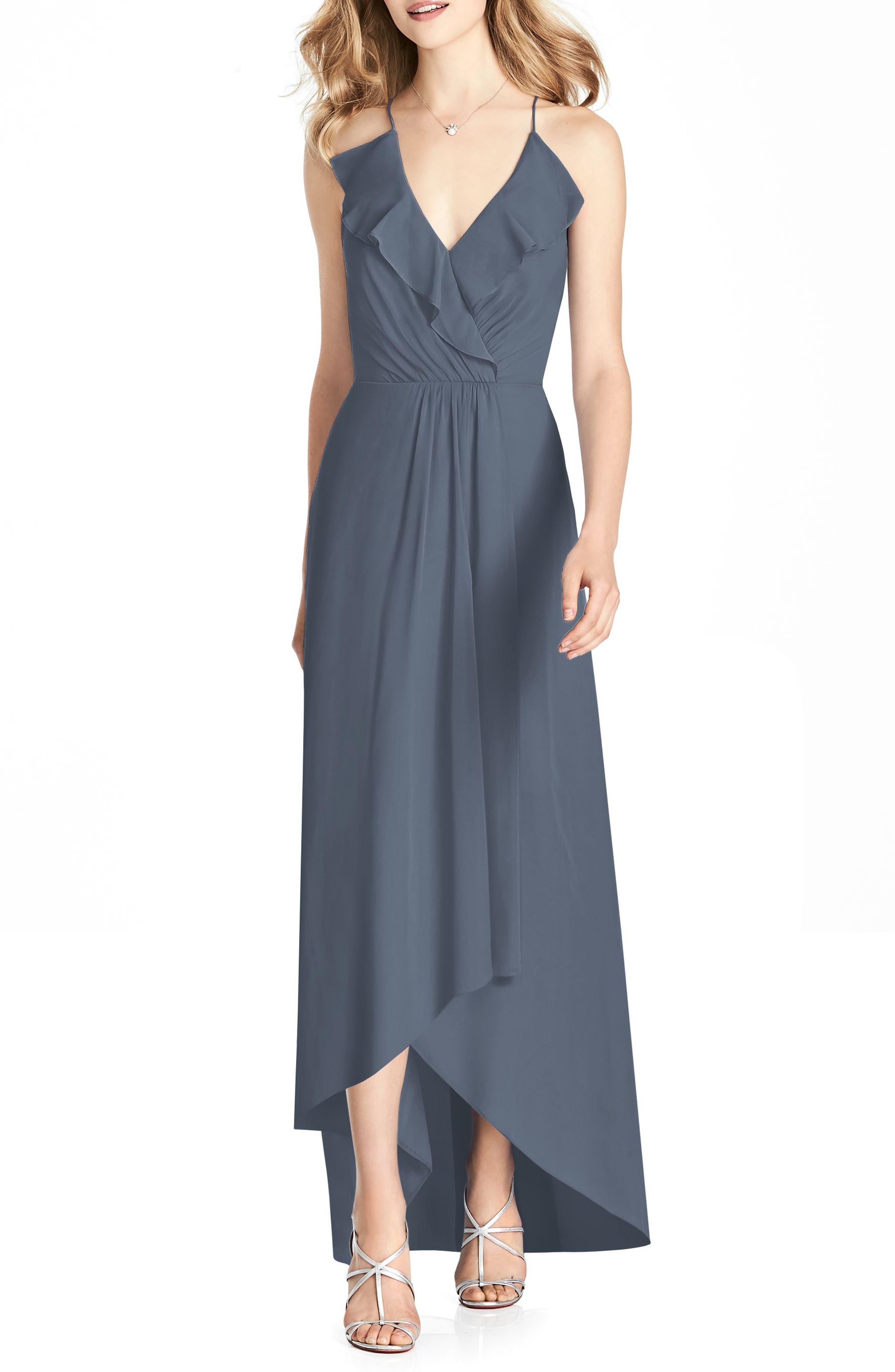 JENNY PACKHAM Ruffle Neck Chiffon Gown, Main, color, SILVERSTONE
