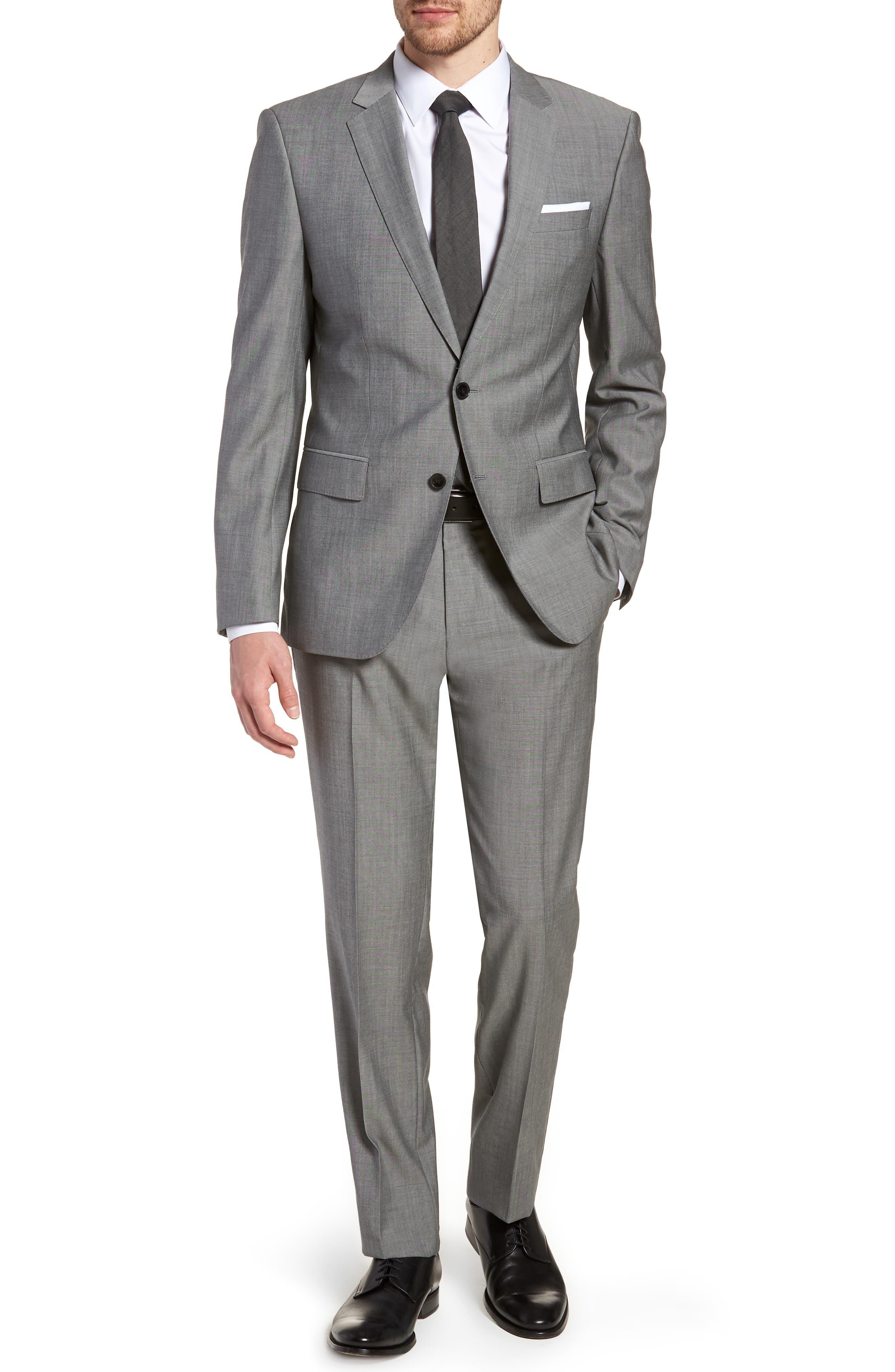 'Huge/Genius' Trim Fit Solid Wool Suit,                             Main thumbnail 1, color,                             PEARL GREY