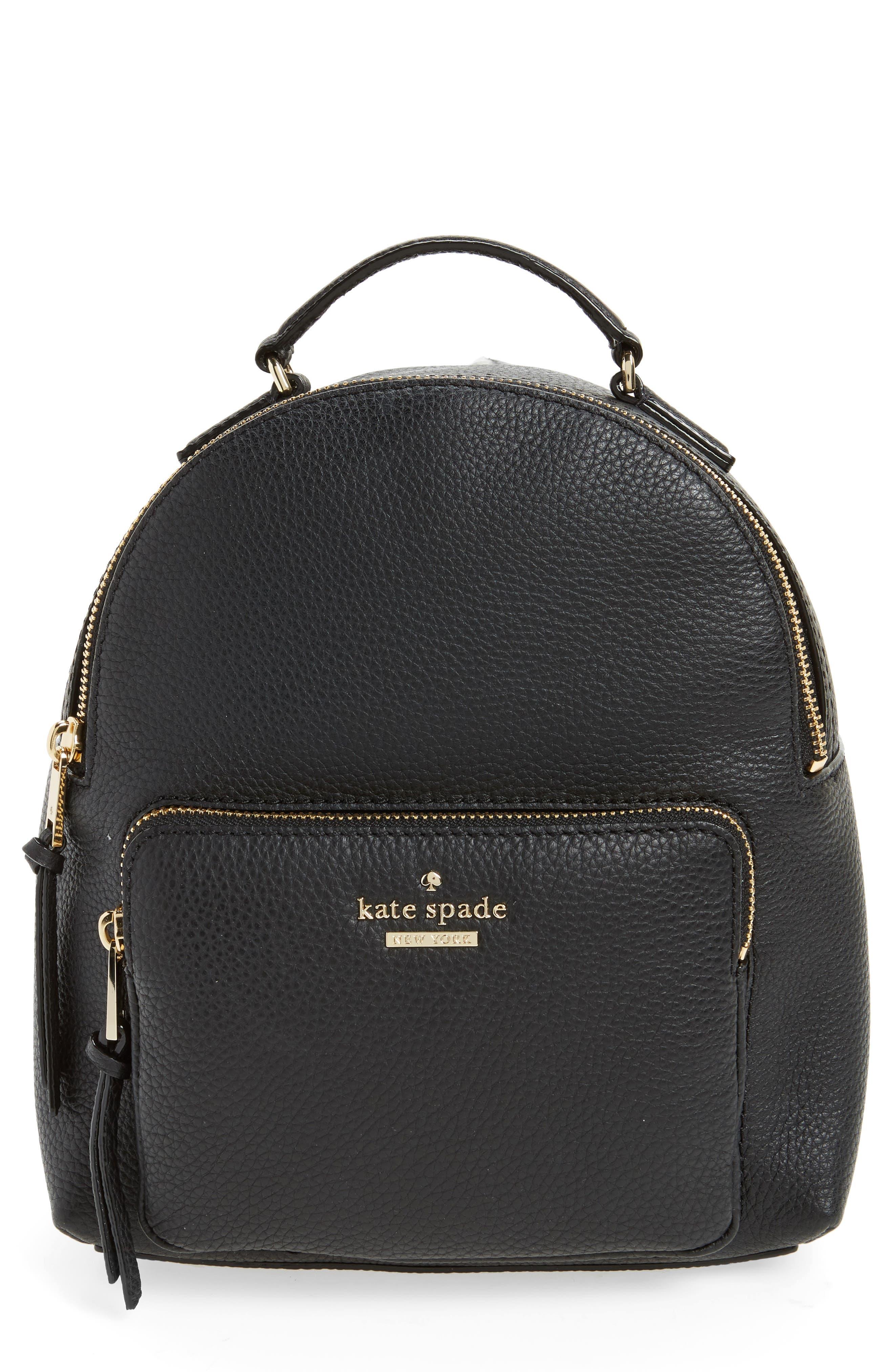 KATE SPADE NEW YORK,                             jackson street - keleigh leather backpack,                             Main thumbnail 1, color,                             BLACK