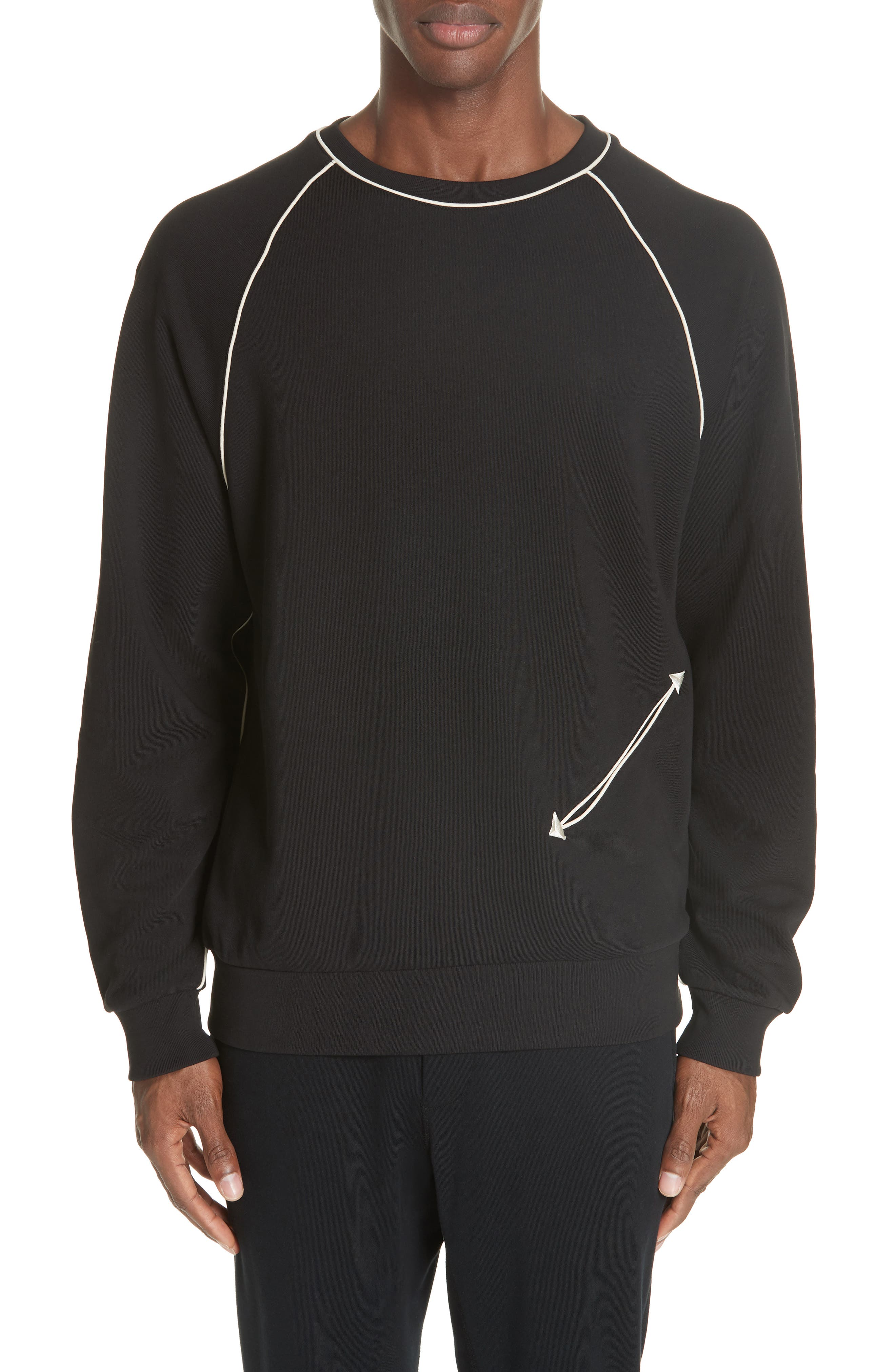 Western Piped Sweatshirt,                             Main thumbnail 1, color,                             900 BLACK