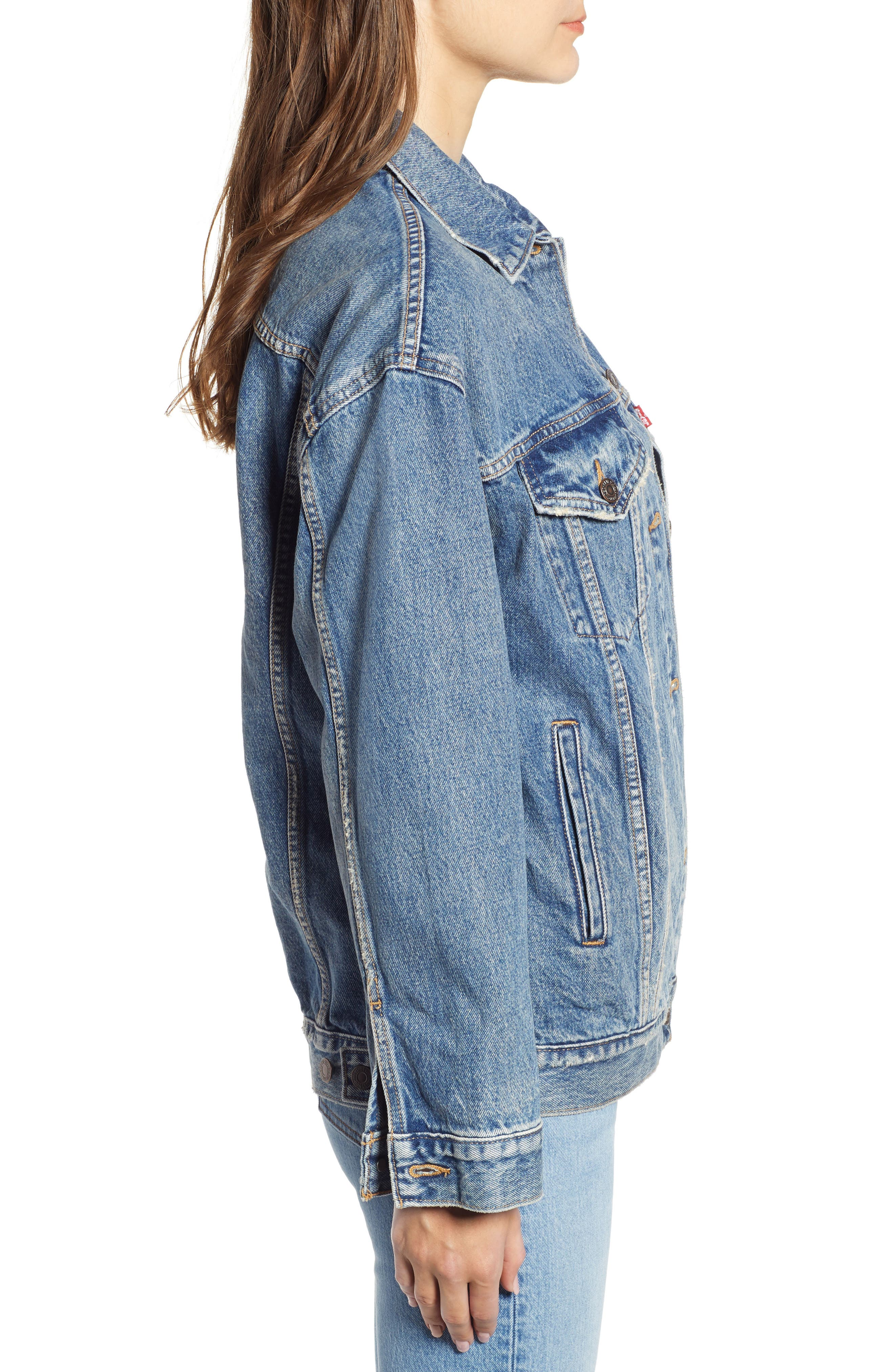 Baggy Trucker Denim Jacket,                             Alternate thumbnail 3, color,                             BUST A MOVE