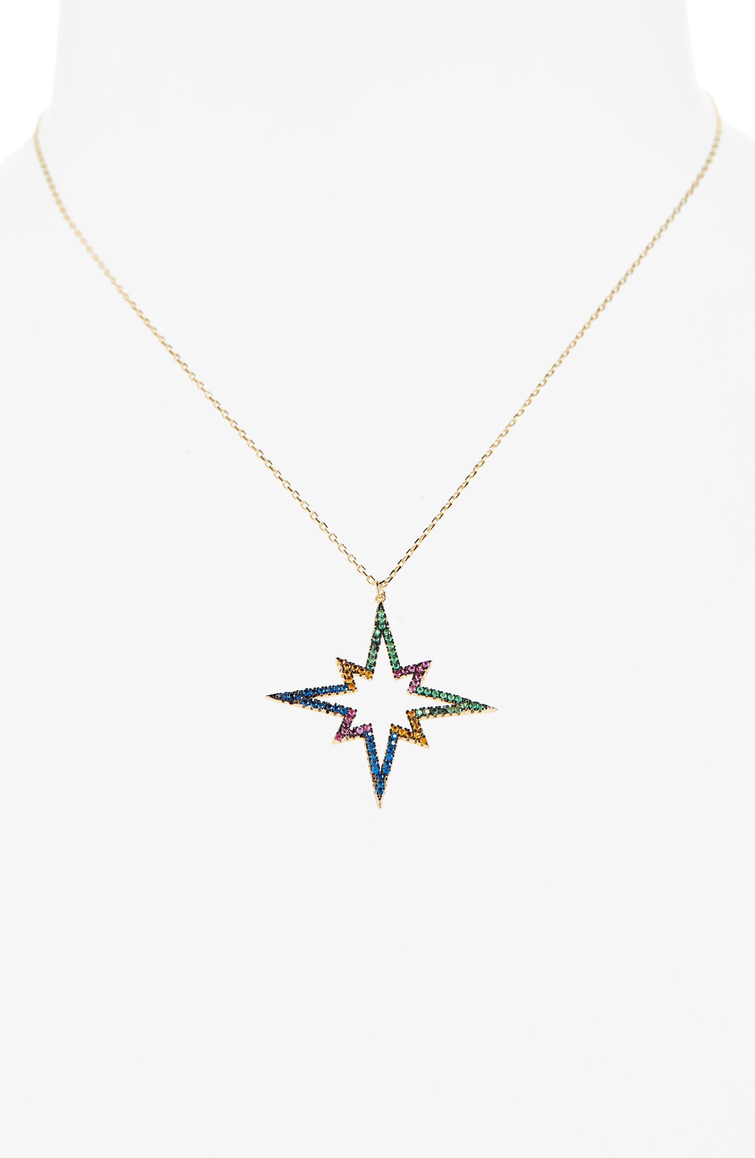 Rainbow Star Pendant Necklace,                             Alternate thumbnail 2, color,                             GOLD MULTI