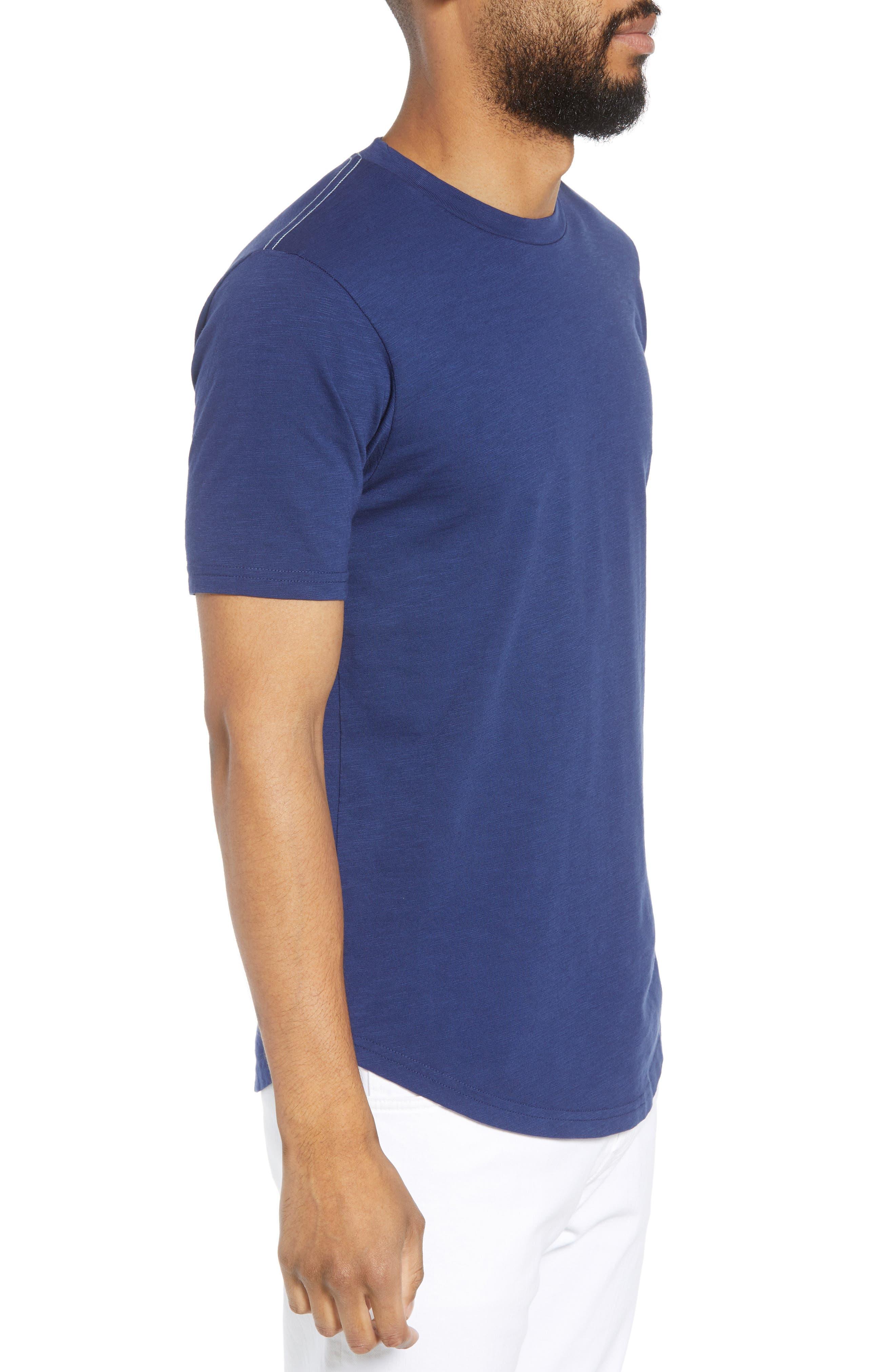 Scallop Hem Slub Crewneck T-Shirt,                             Alternate thumbnail 3, color,                             GOODLIFE NAVY