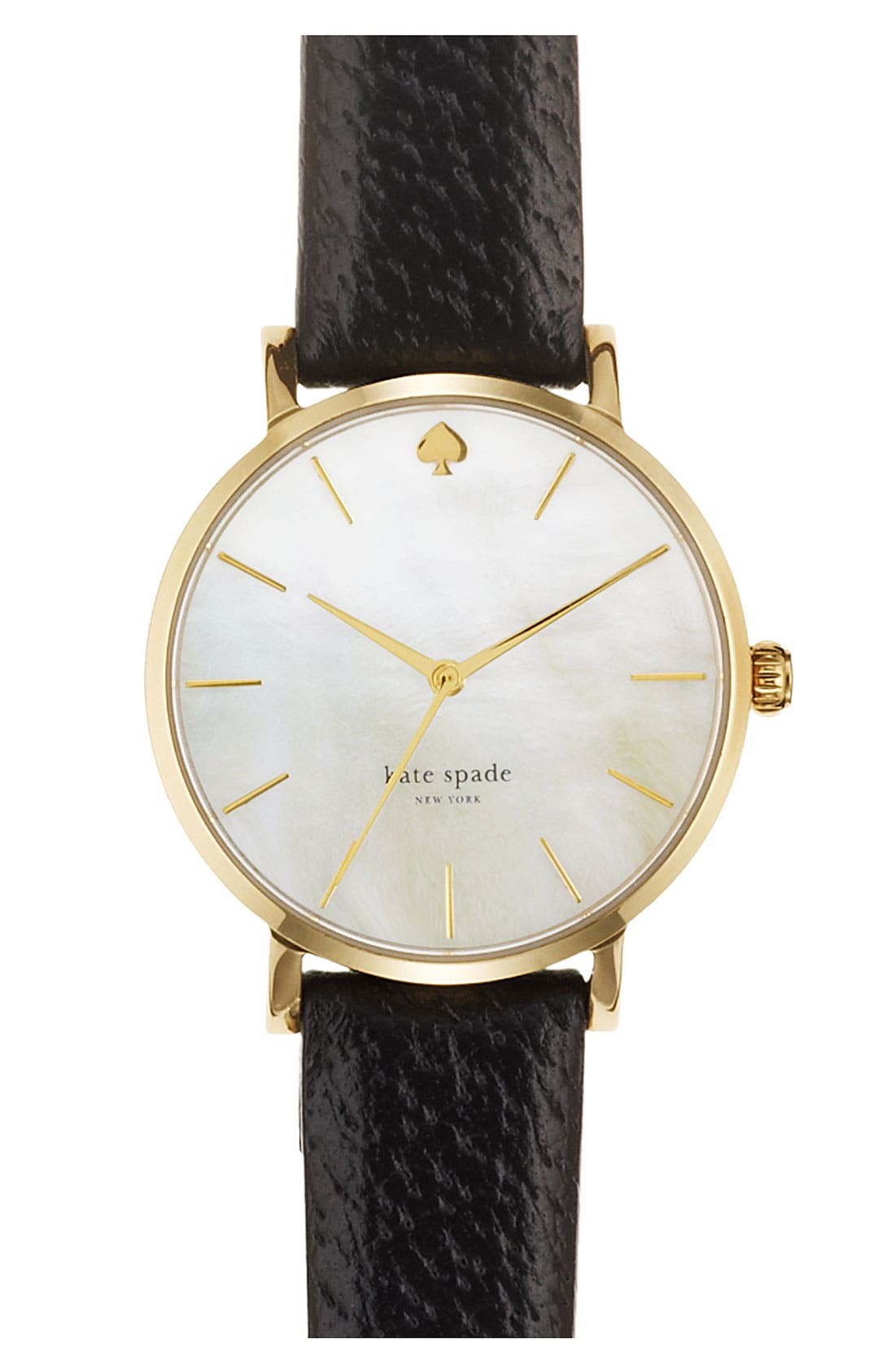 KATE SPADE NEW YORK,                             'metro' round leather strap watch, 34mm,                             Main thumbnail 1, color,                             001