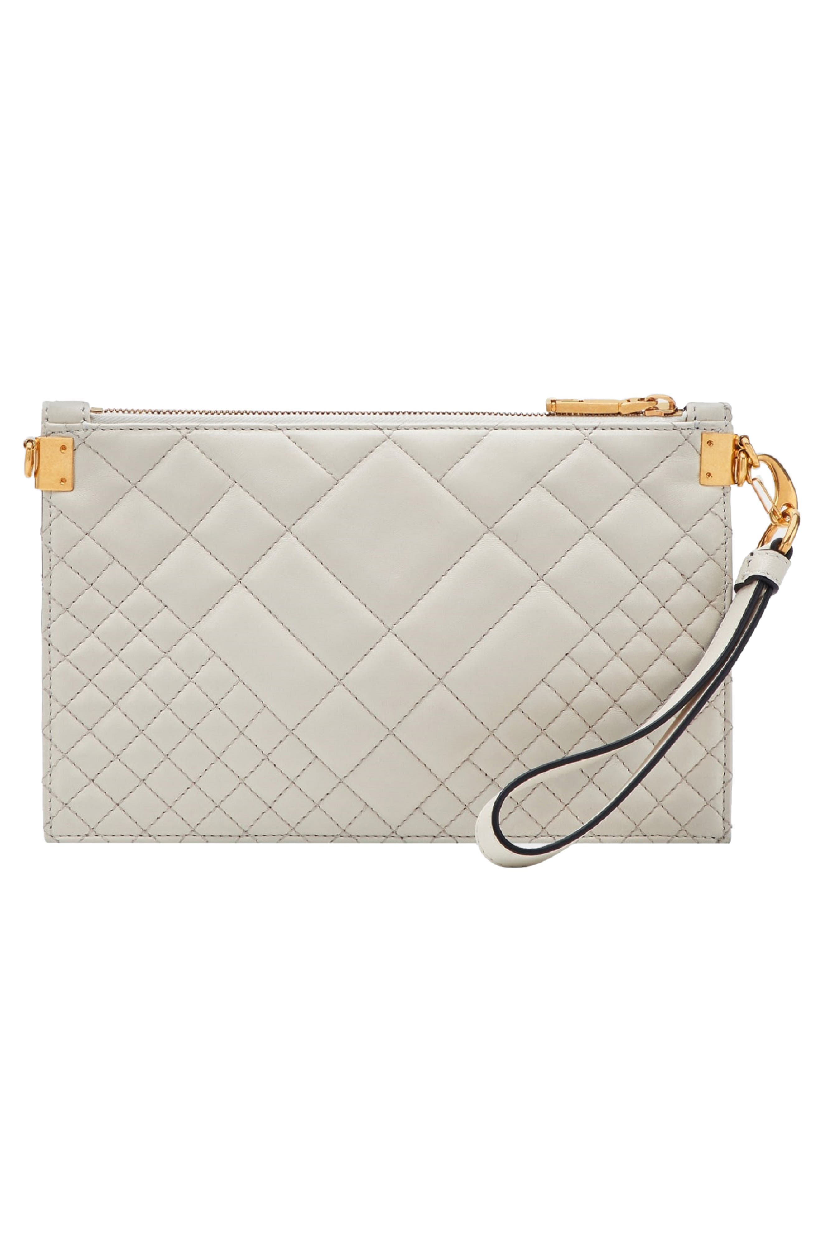 Tribute Icon Quilted Leather Pouch,                             Alternate thumbnail 3, color,                             OFF WHITE/ GOLD