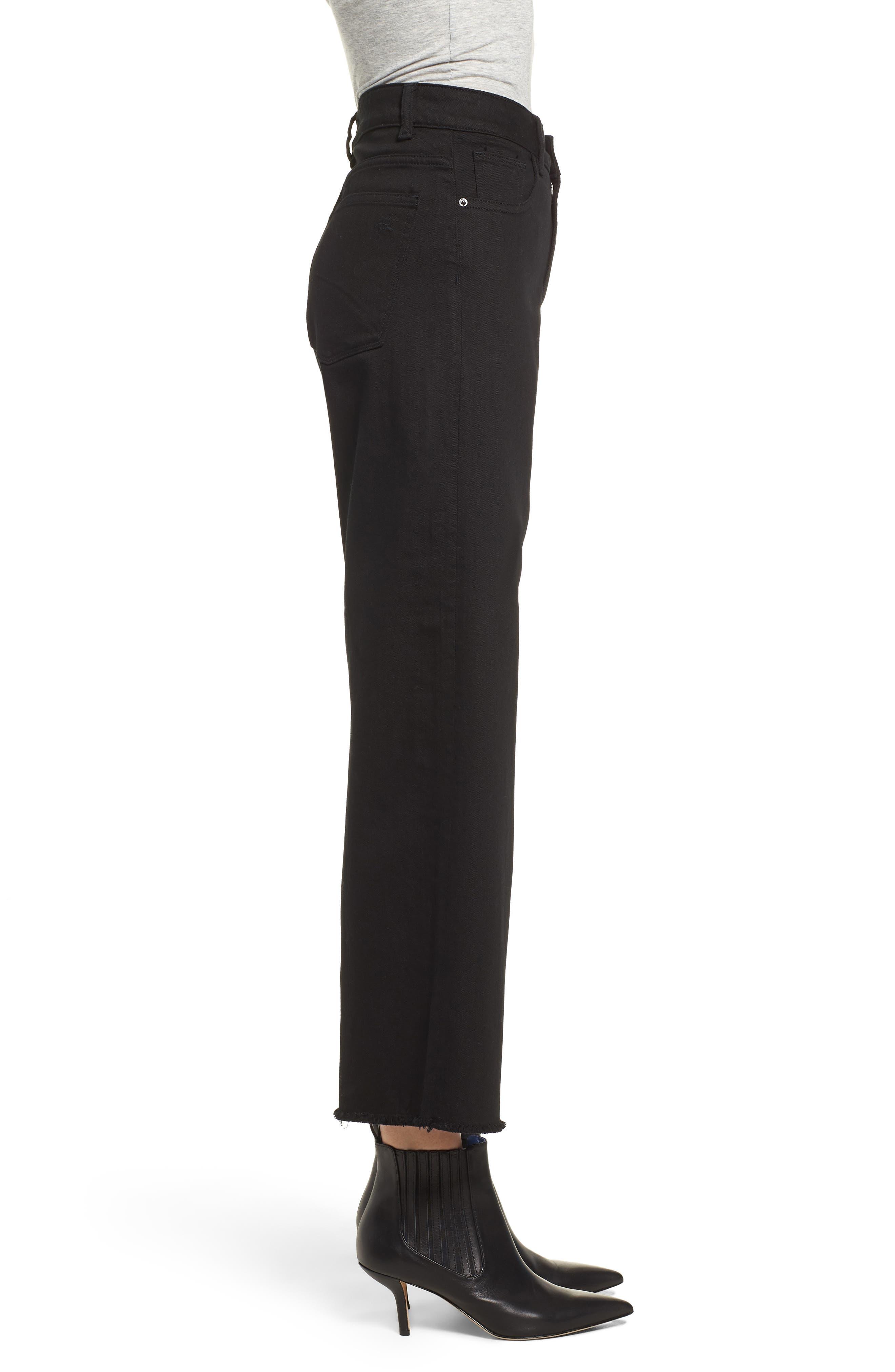 Hepburn High Waist Raw Hem Wide Leg Jeans,                             Alternate thumbnail 3, color,                             001