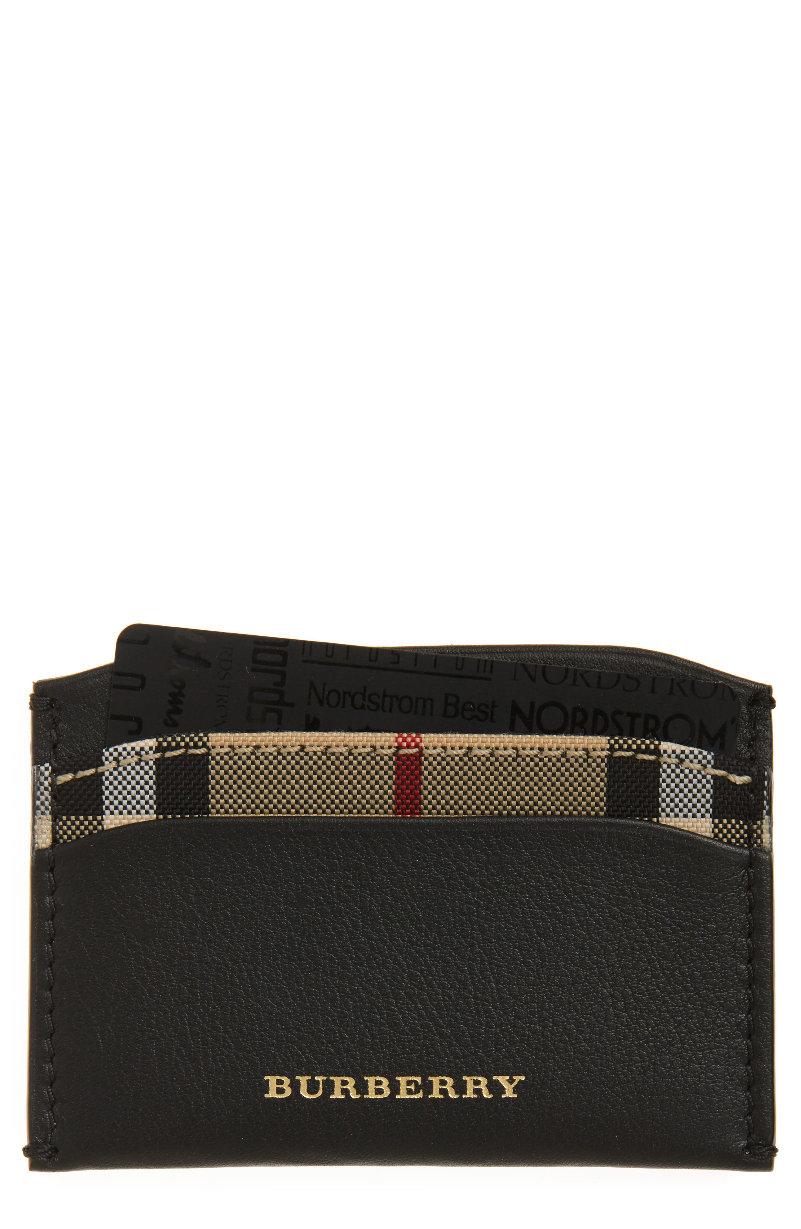 Izzy Check & Leather Card Case,                         Main,                         color, 001