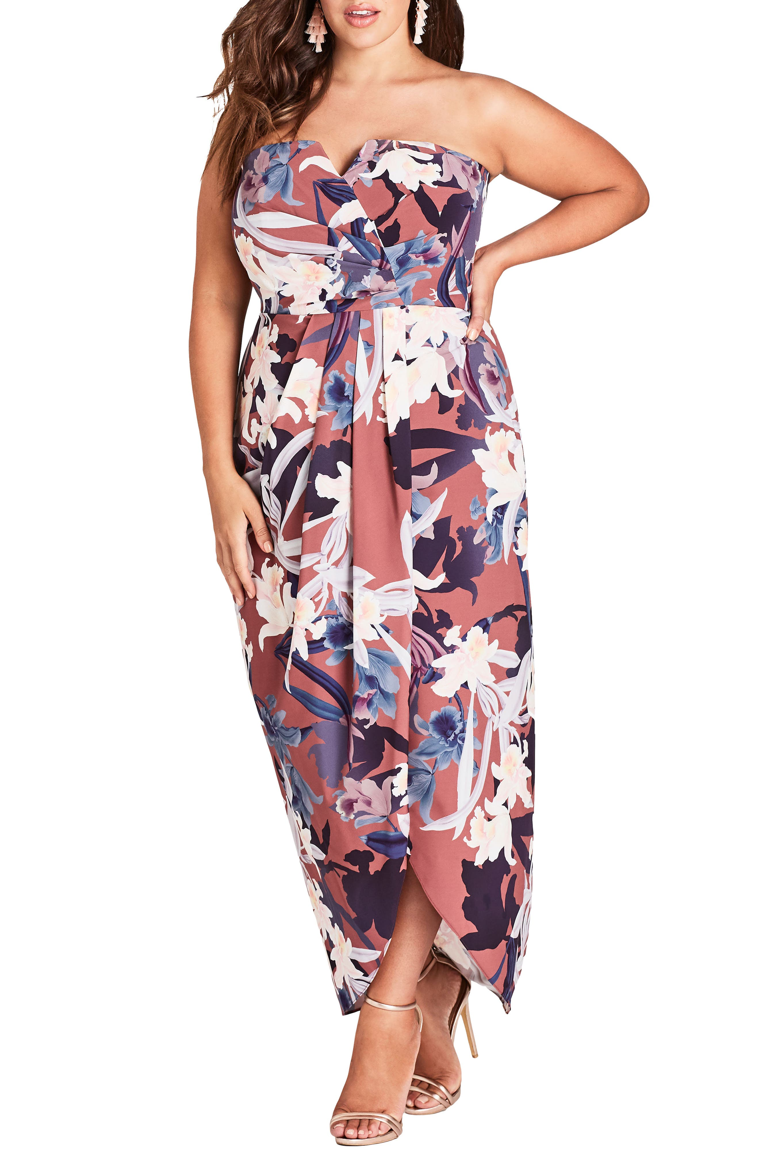 CITY CHIC Lavish Floral Strapless Dress, Main, color, 200