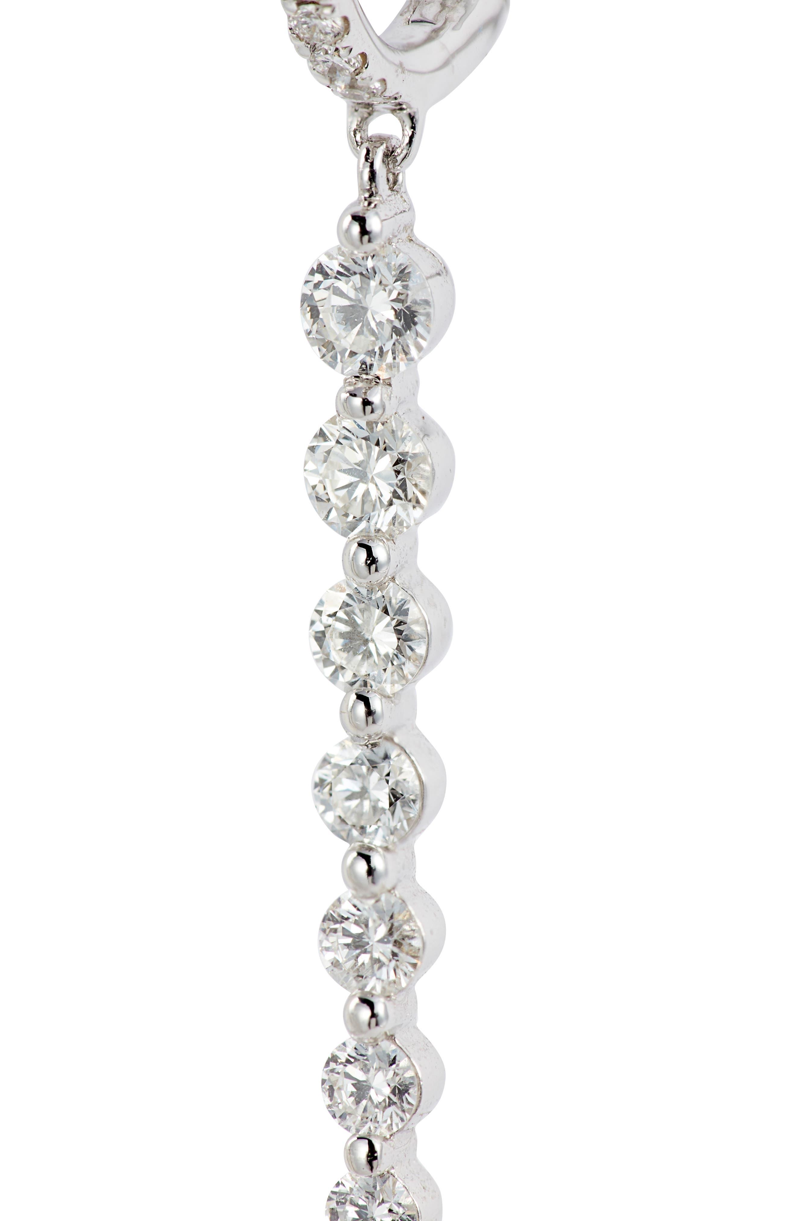 Getty Linear Diamond Earrings,                             Alternate thumbnail 5, color,                             WHITE GOLD/ DIA