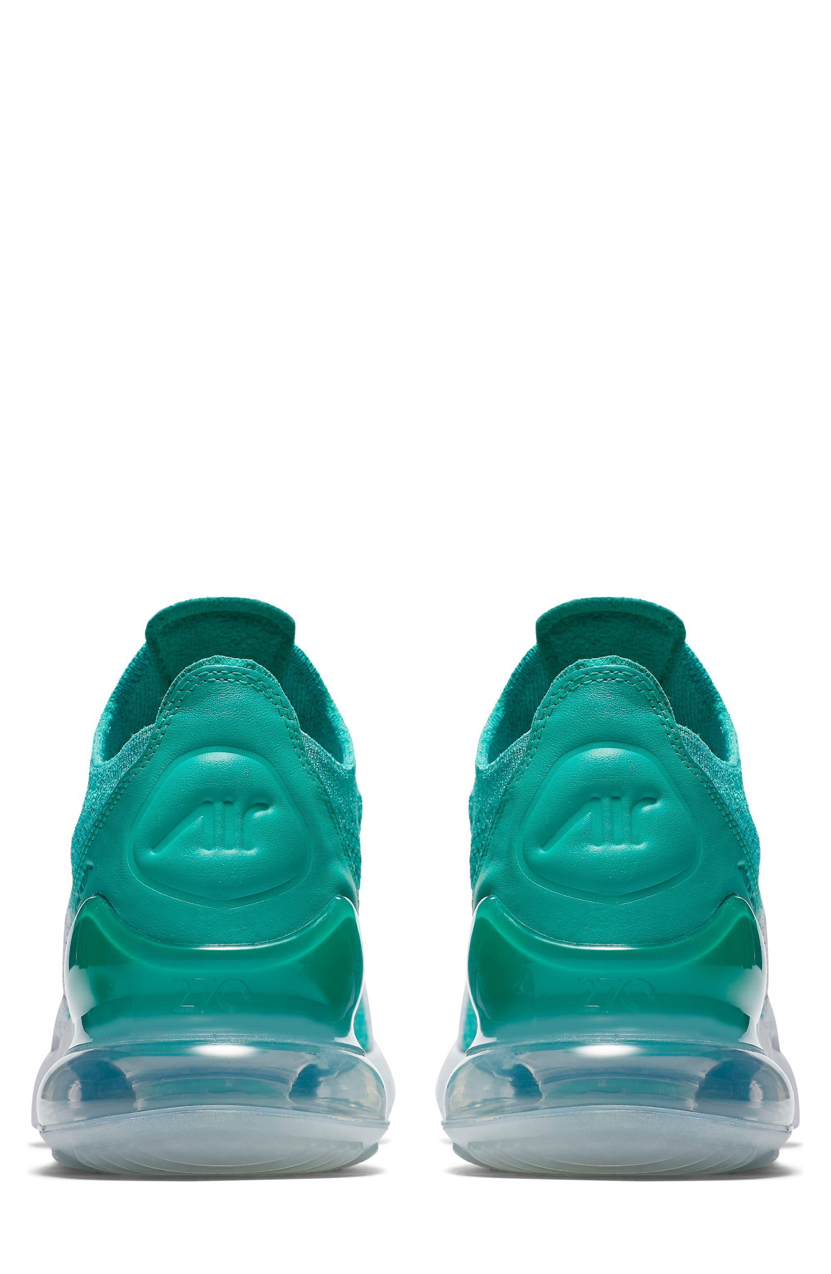 Air Max 270 Flyknit Sneaker,                             Alternate thumbnail 2, color,                             EMERALD/ BLACK/ PURE PLATINUM