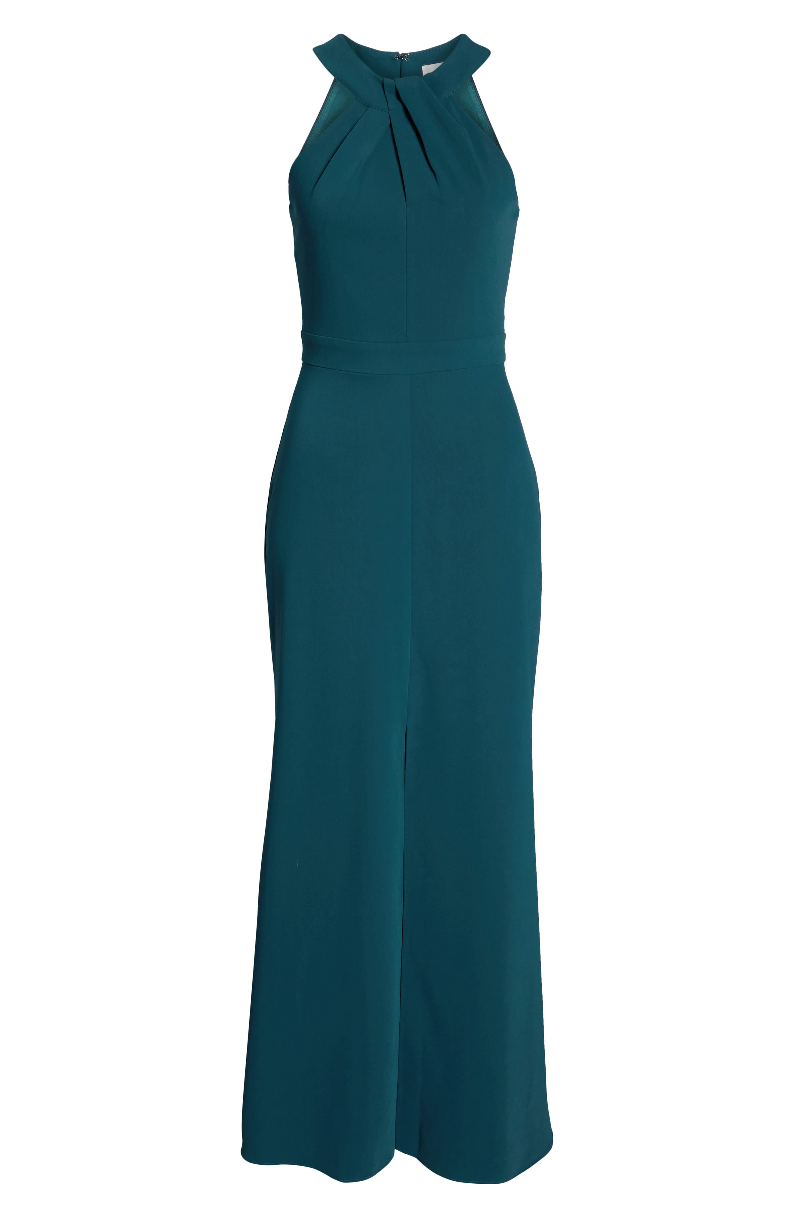 Halter Gown,                             Alternate thumbnail 8, color,                             FOREST GREEN