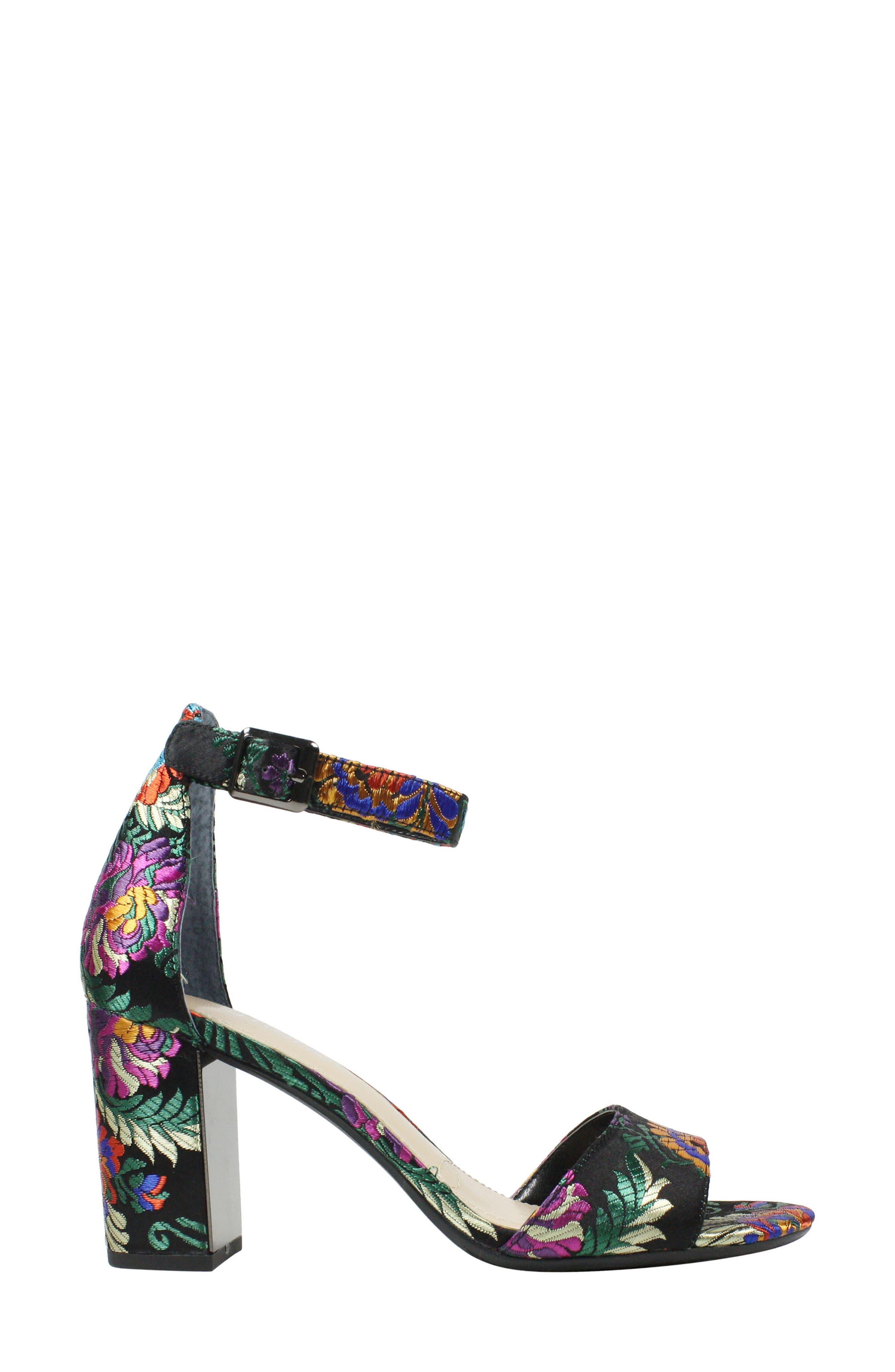 Flaviana Ankle Strap Sandal,                             Alternate thumbnail 3, color,                             BLACK MULTI FABRIC