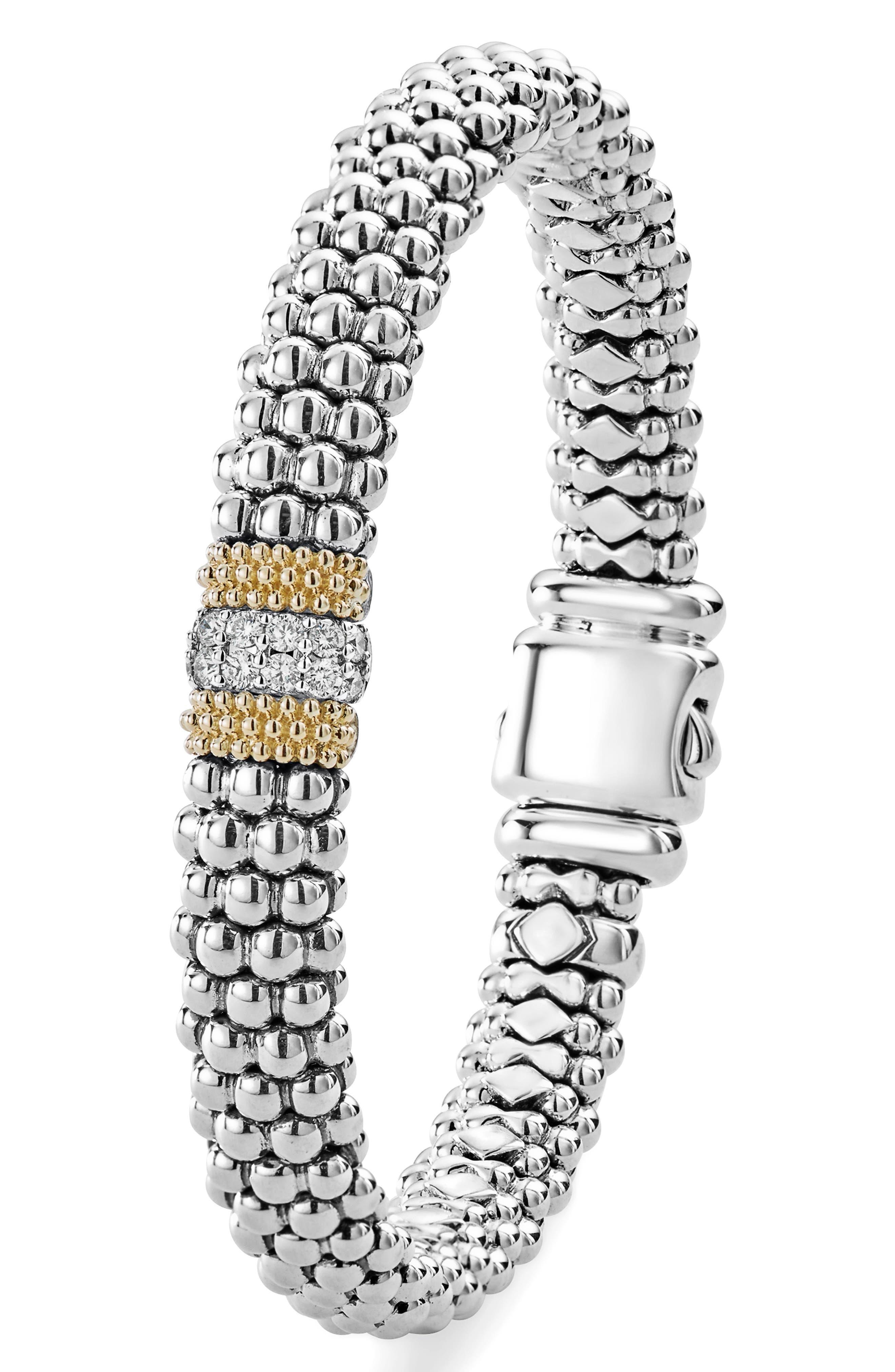 Luxe Pavé Diamond 9mm Bracelet,                             Alternate thumbnail 3, color,                             DIAMOND