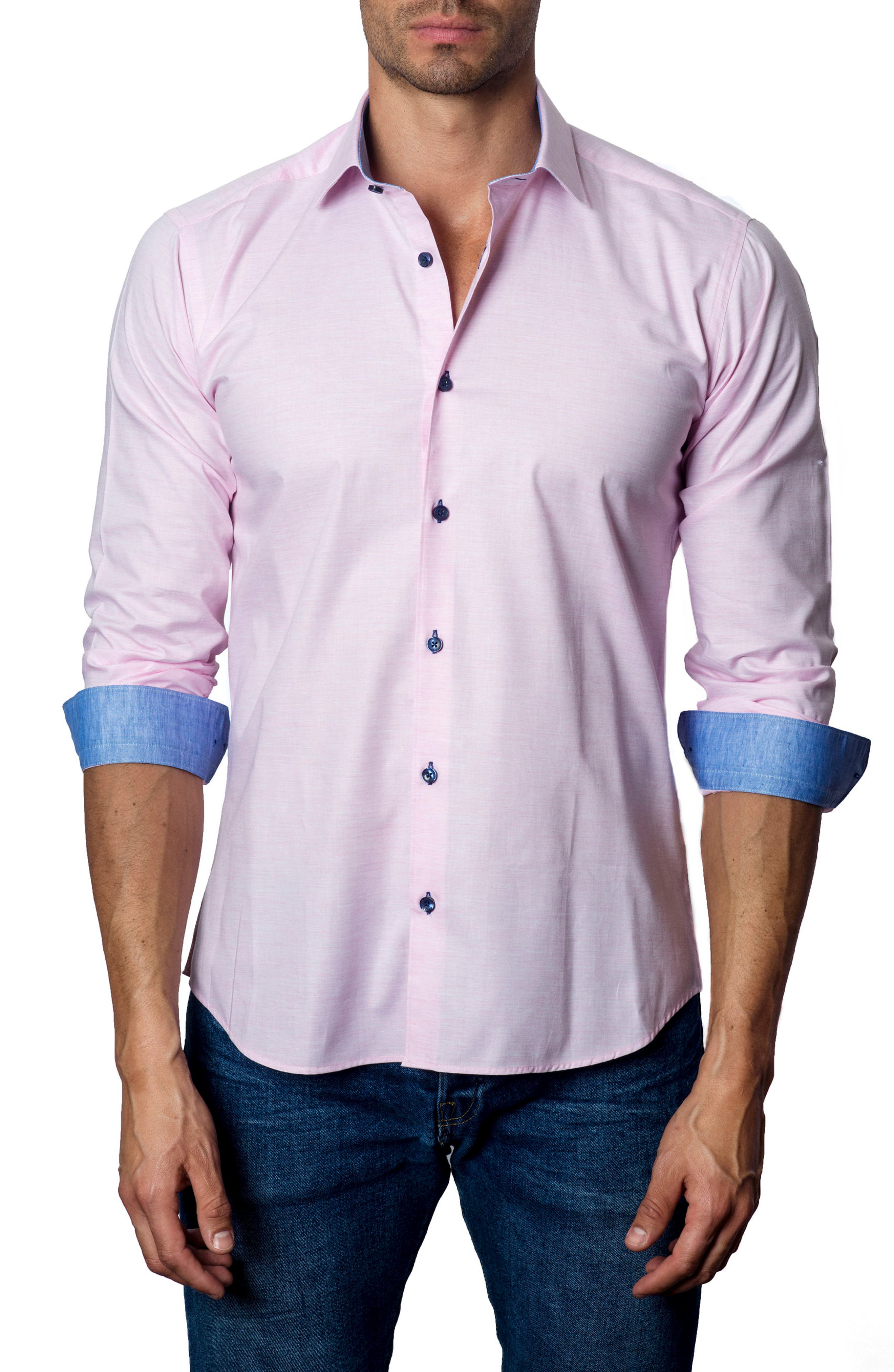 JARED LANG Trim Fit Sport Shirt, Main, color, 680