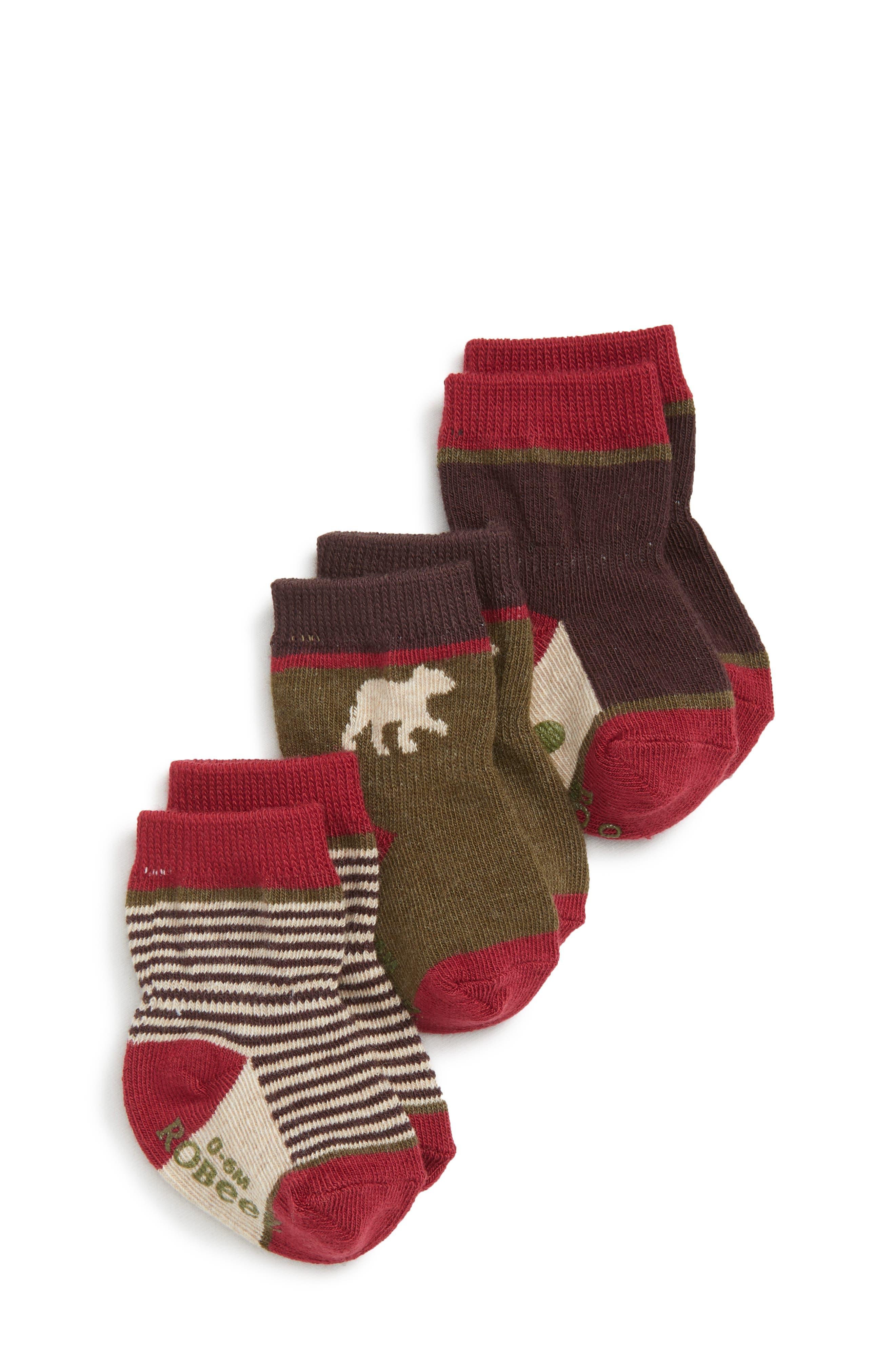 Forest Dweller 3-Pack Socks,                         Main,                         color, RED/ BROWN