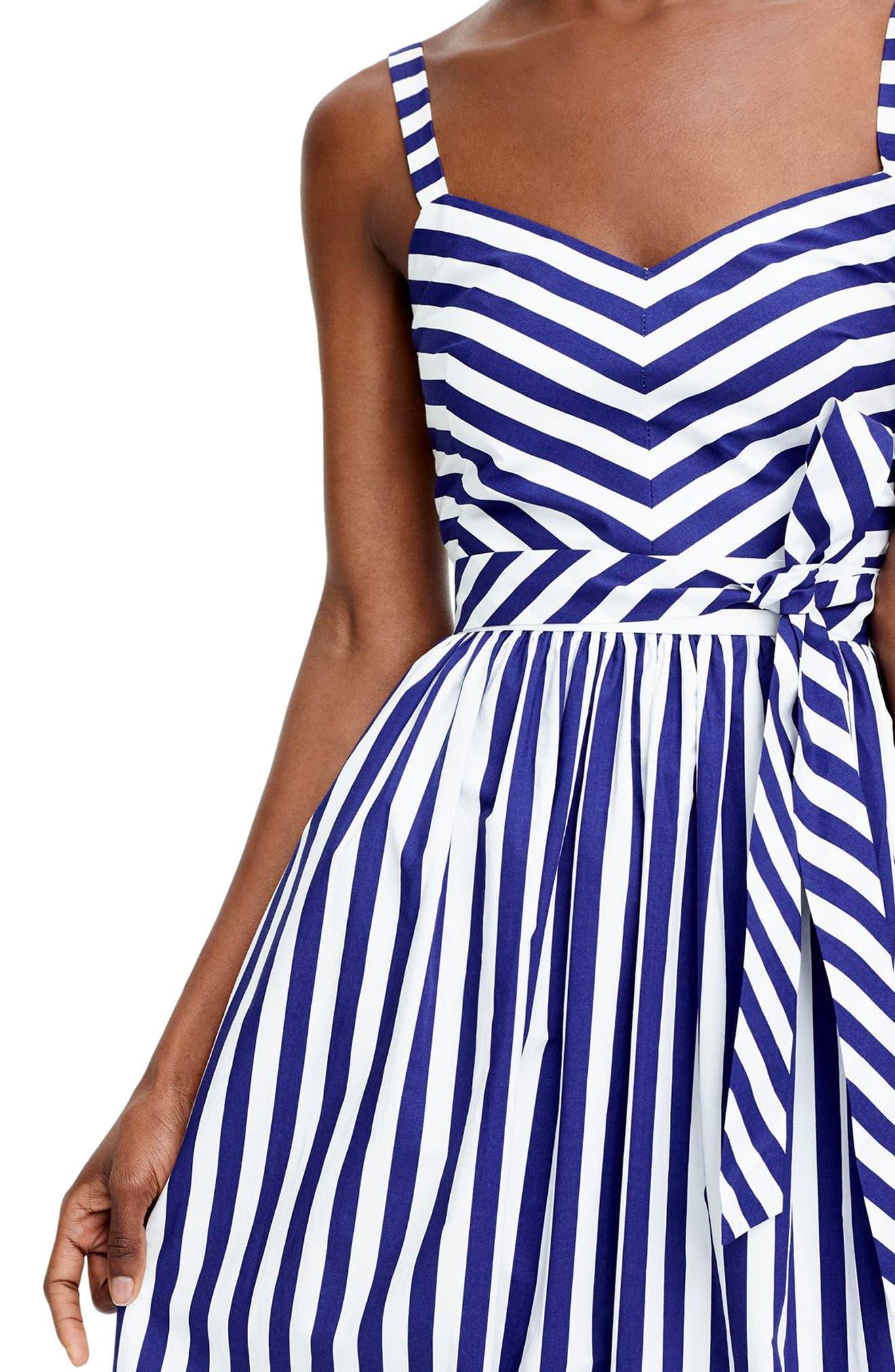 Stripe Ruffle Maxi Dress,                             Alternate thumbnail 3, color,                             400