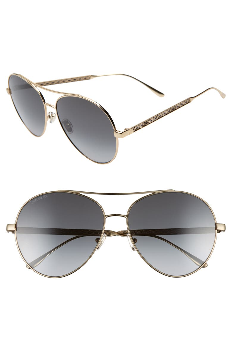 df125d85c215 Jimmy Choo Noria 61Mm Special Fit Gradient Aviator Sunglasses - Gold