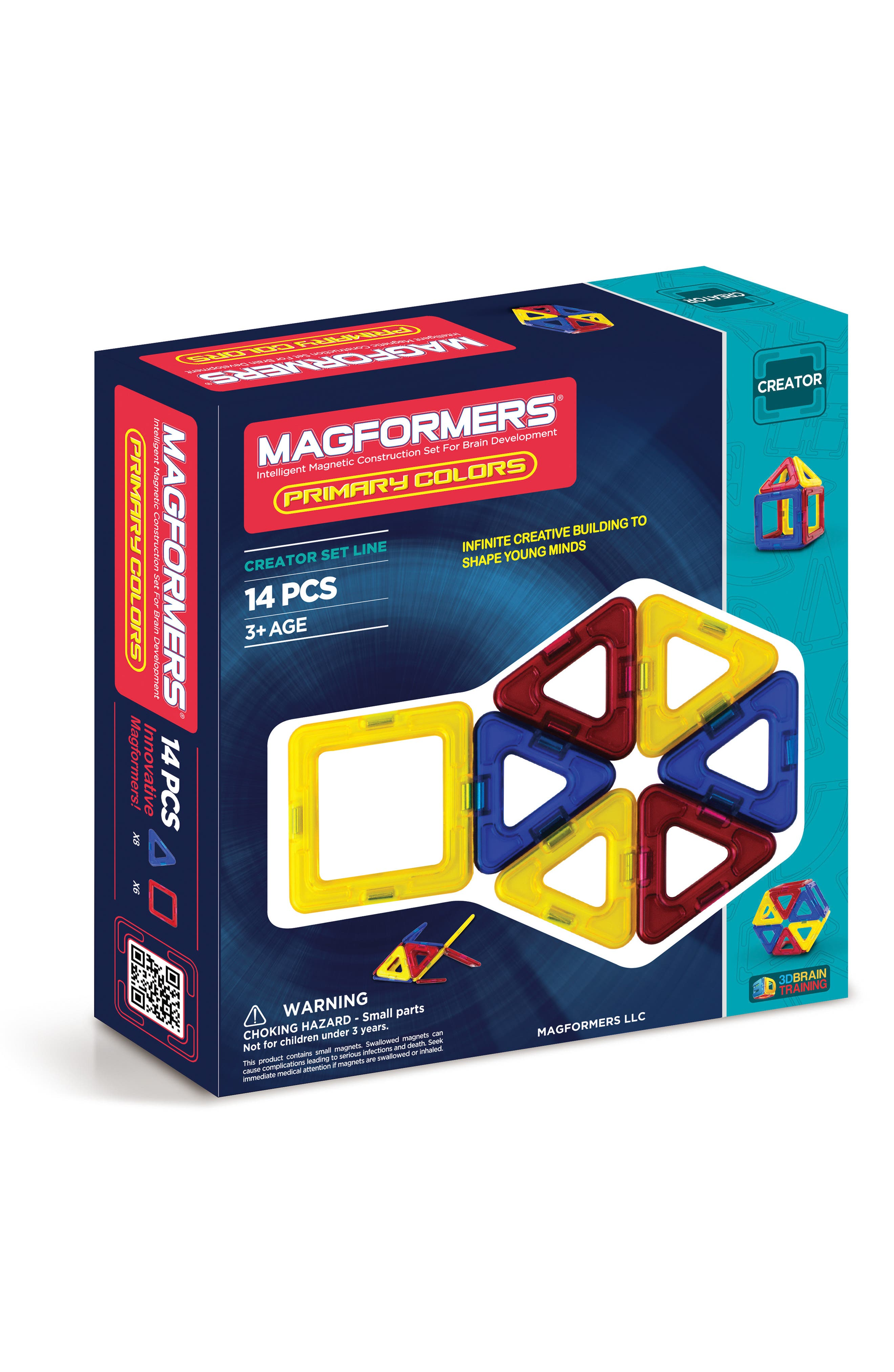 14-Piece Primary Colors Magnetic 3D Construction Set,                         Main,                         color, 400