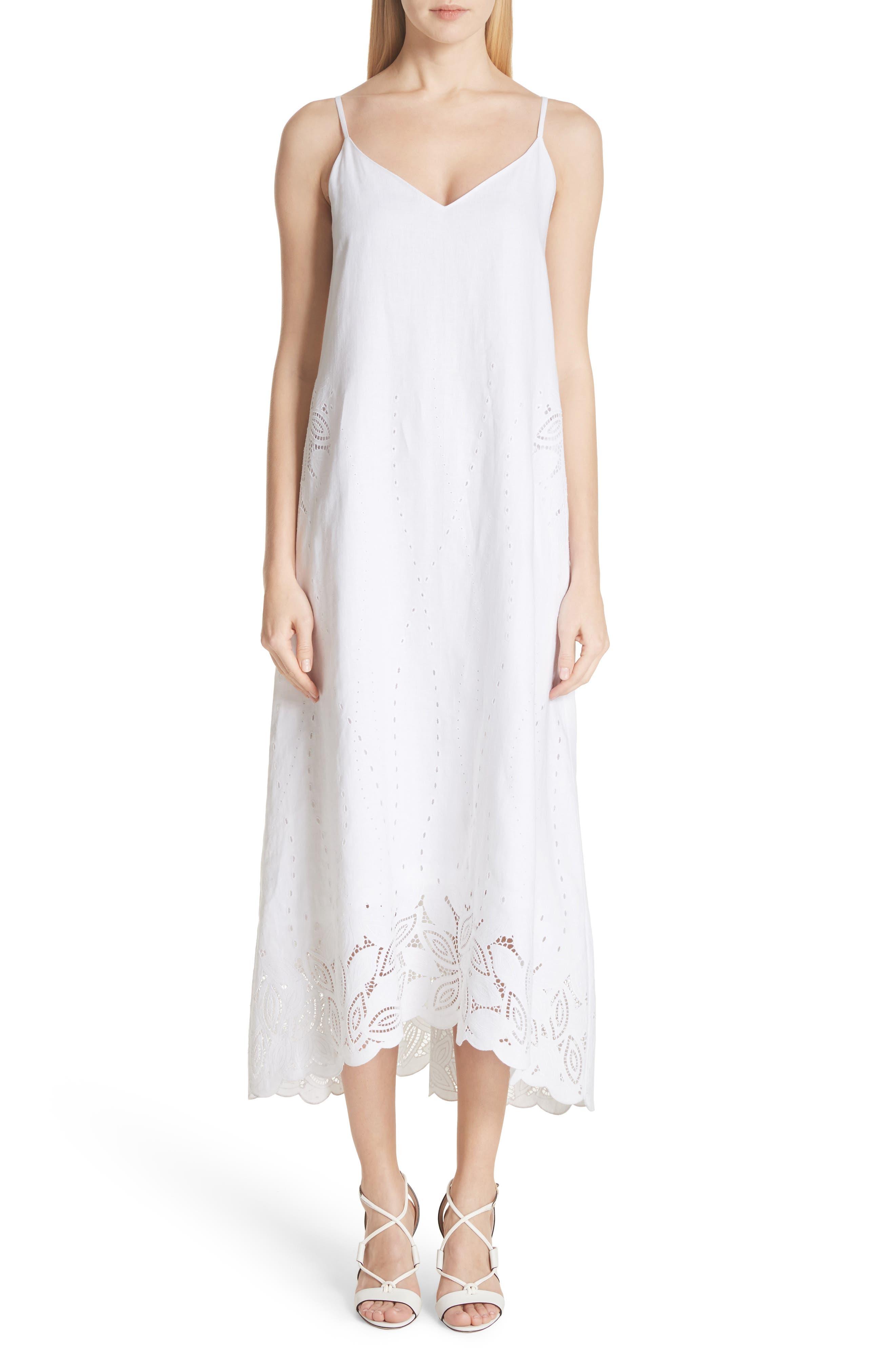 Dominique Linen Cutwork Dress,                         Main,                         color, 100