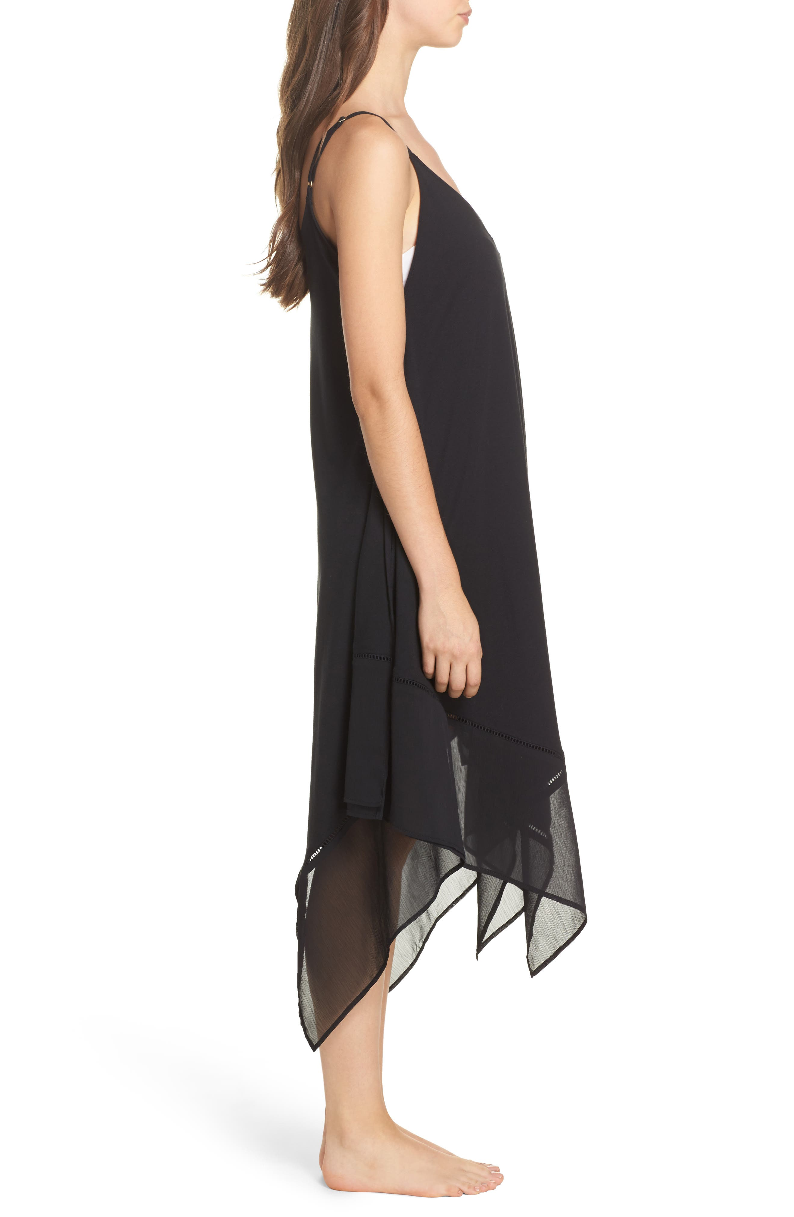 Cover-Up Scarf Dress,                             Alternate thumbnail 3, color,                             BLACK