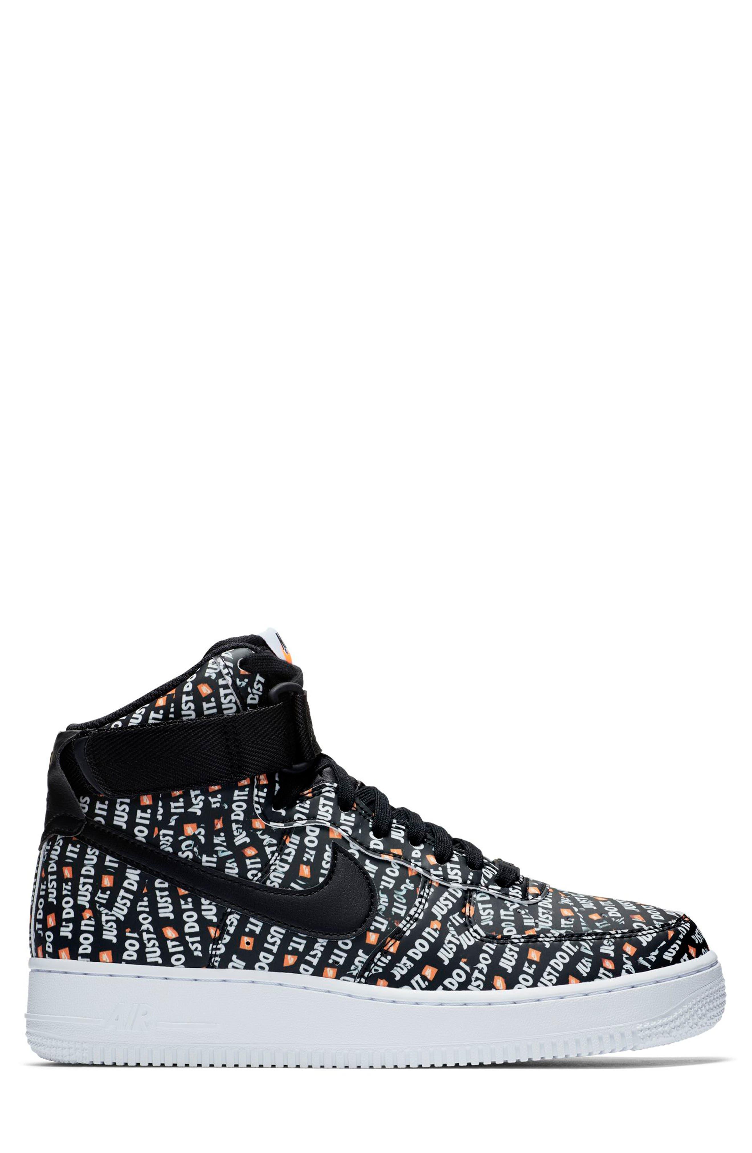 Air Force 1 High LX High Top Sneaker,                             Alternate thumbnail 3, color,                             BLACK