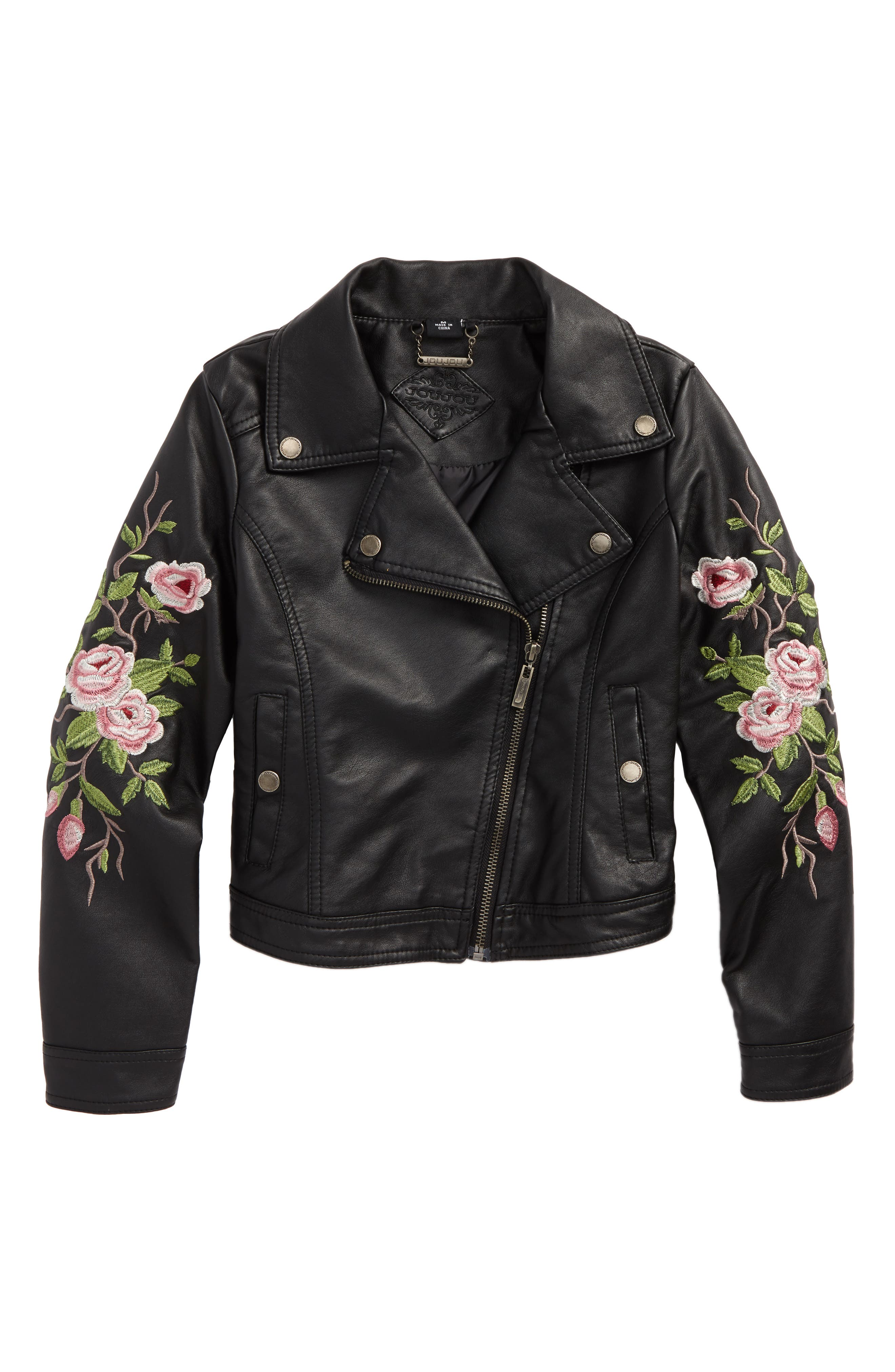 Embroidered Faux Leather Moto Jacket,                         Main,                         color, 001