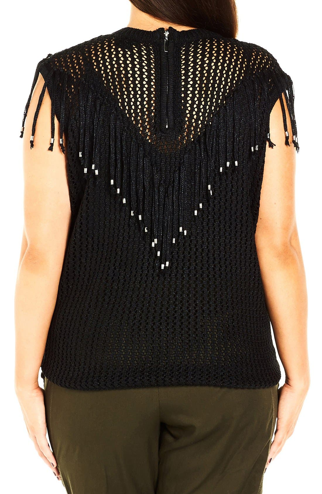 'Fringe Fever' Sleeveless Sweater,                             Alternate thumbnail 6, color,