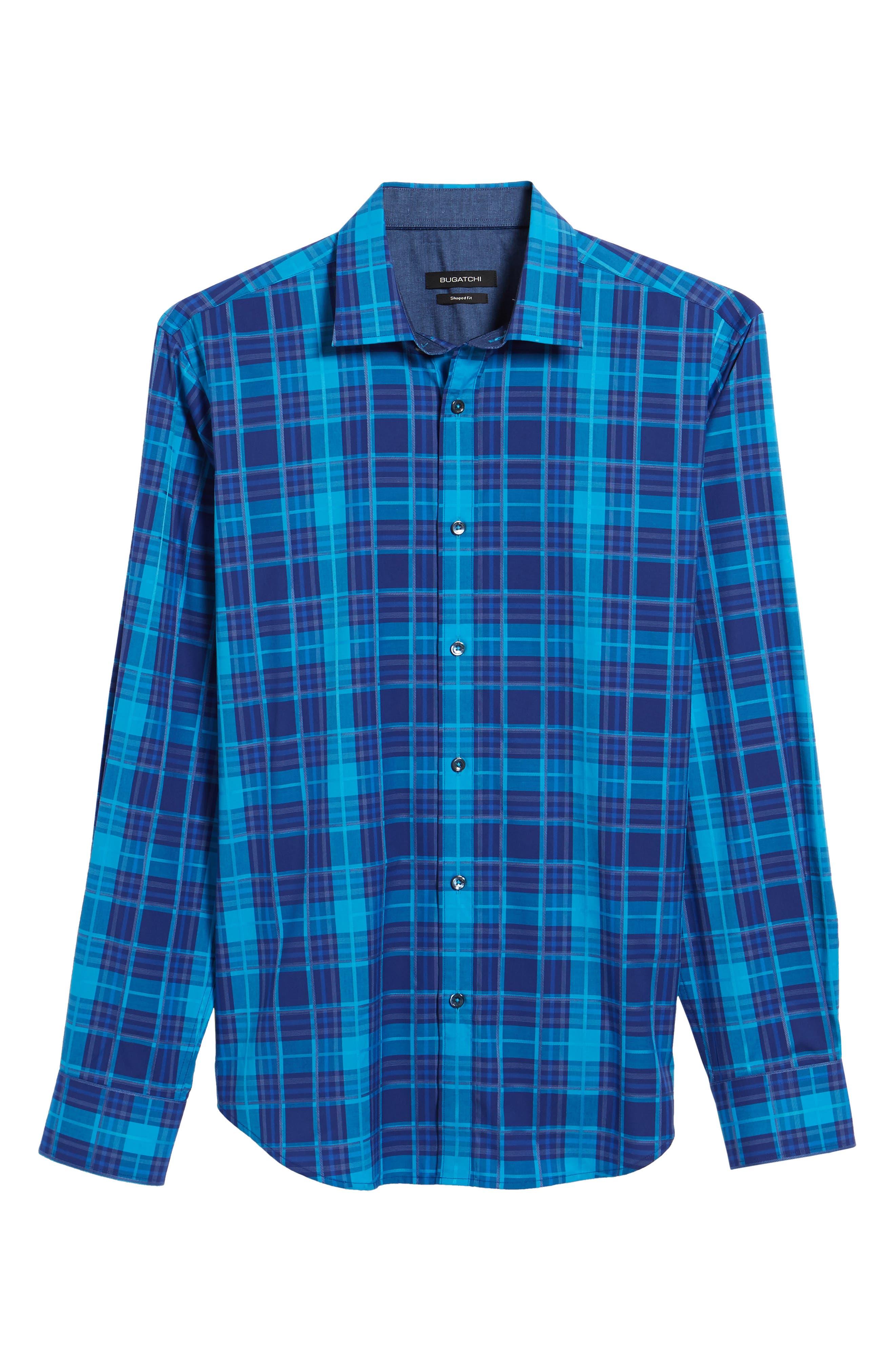 Trim Fit Plaid Sport Shirt,                             Alternate thumbnail 6, color,                             425
