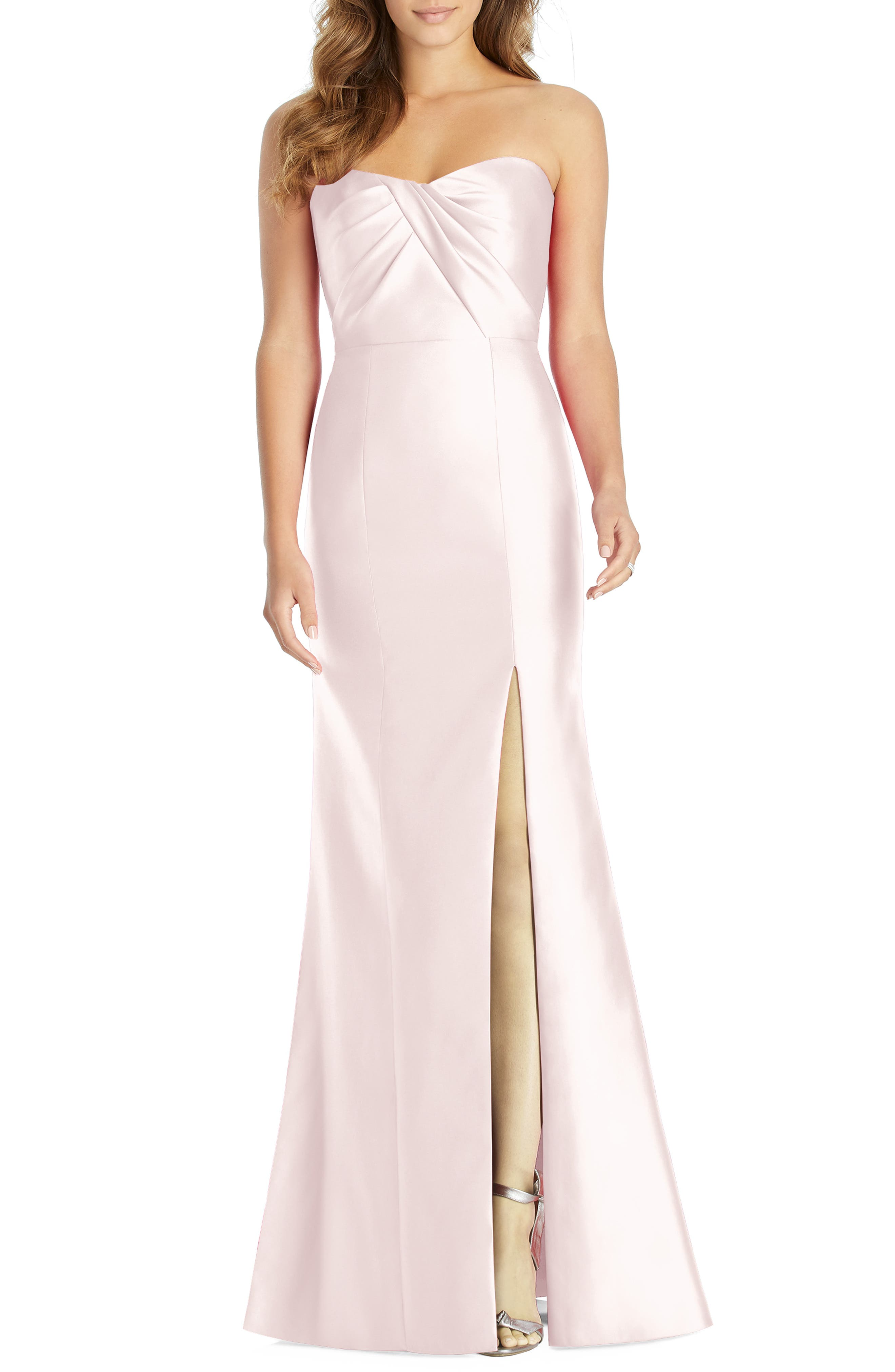 Alfred Sung Sateen Twill Strapless Sweetheart Neckline Gown, Pink