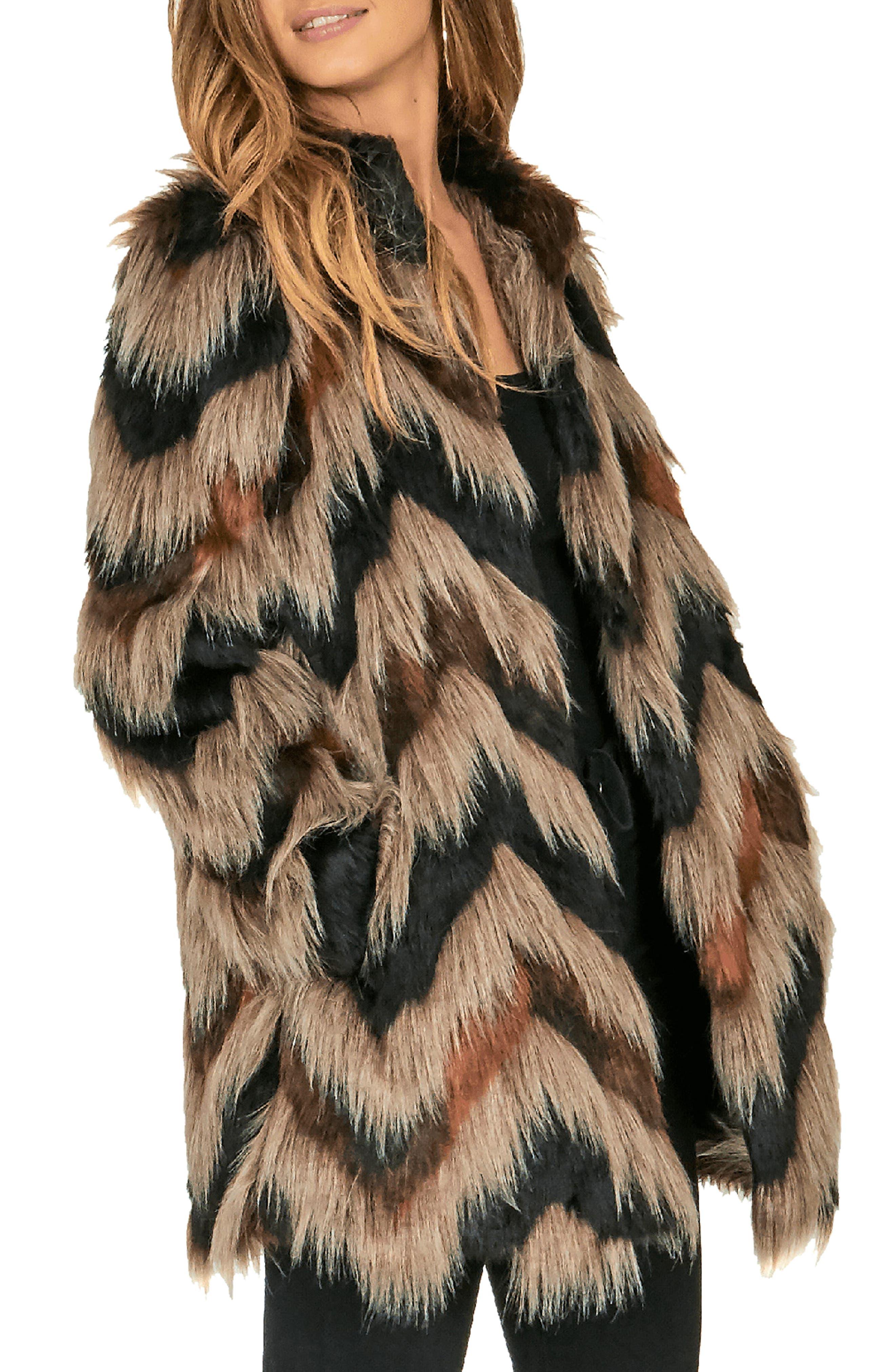 Waylon Faux Fur Jacket,                             Alternate thumbnail 3, color,                             001