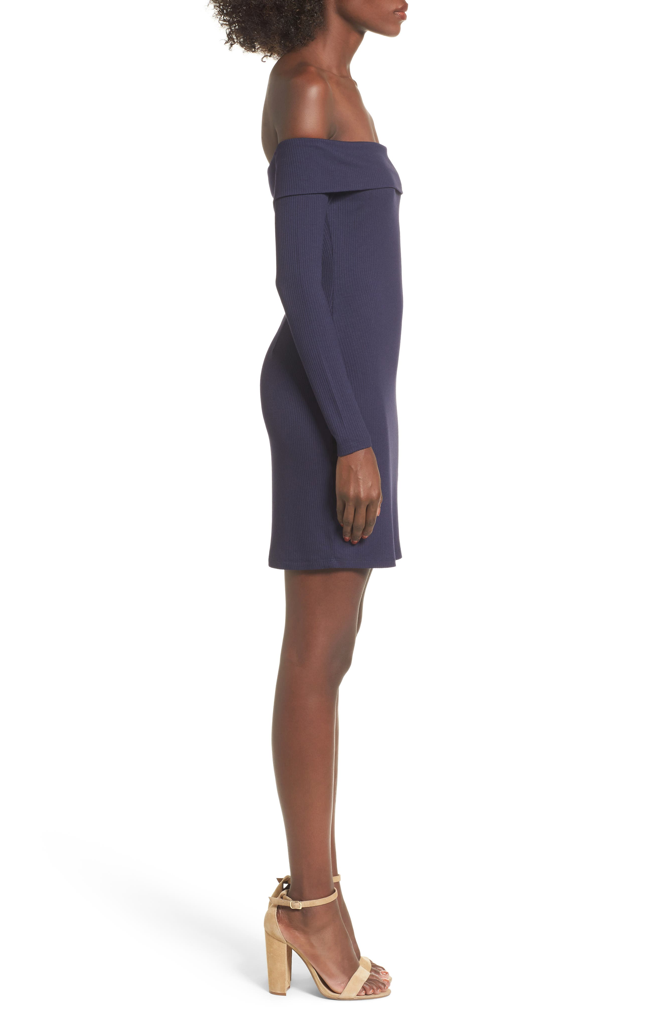 Silas Off the Shoulder Body-Con Dress,                             Alternate thumbnail 9, color,