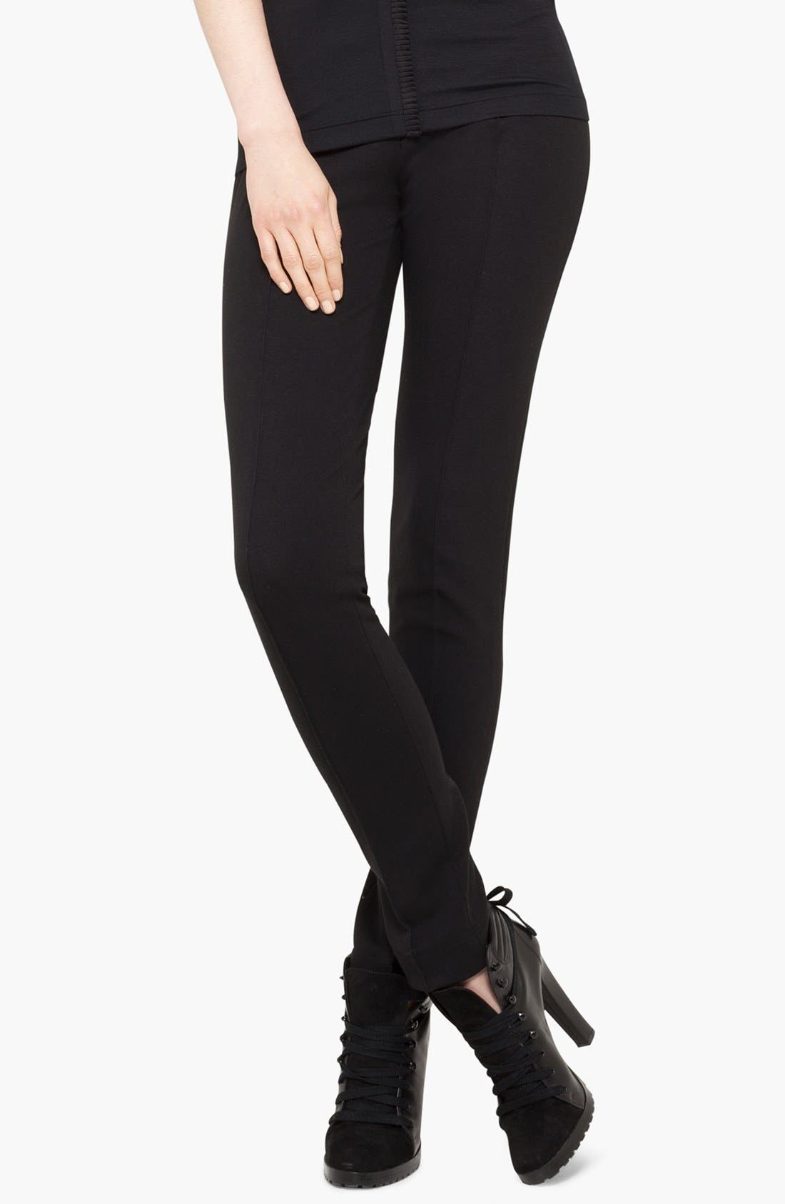 Stretch Jersey Pants,                         Main,                         color, BLACK