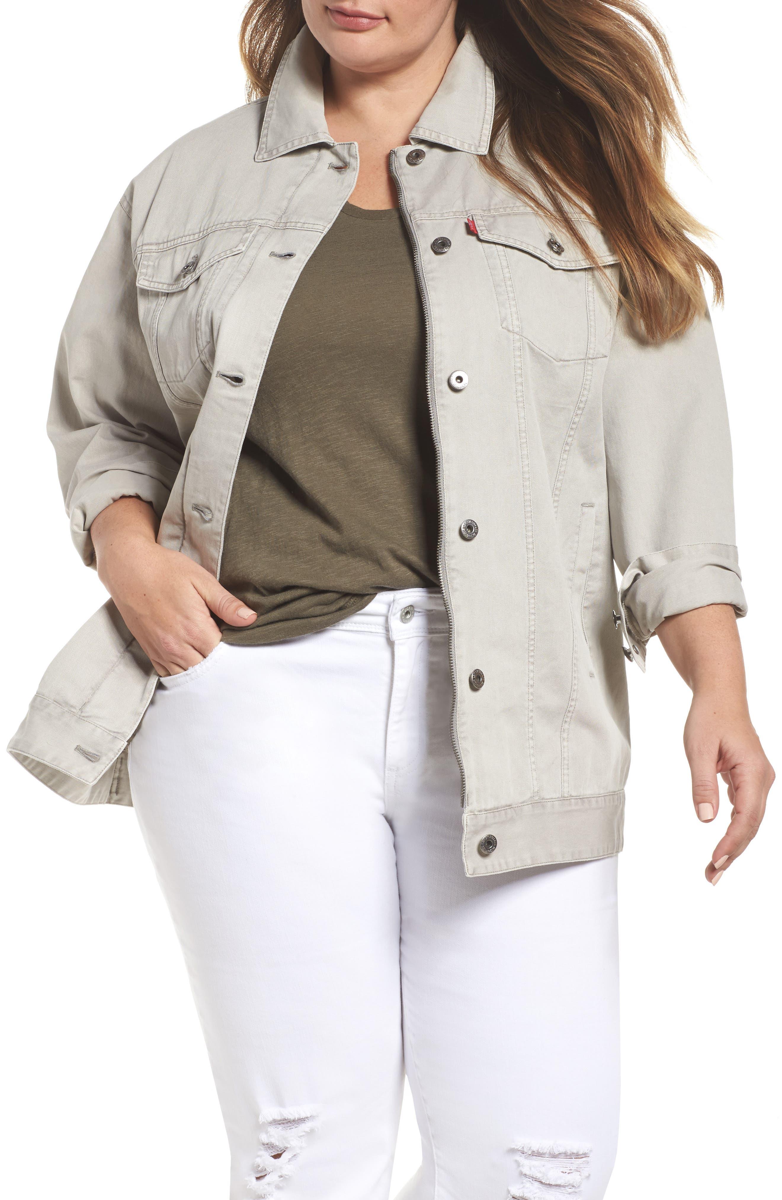 Oversize Cotton Canvas Trucker Jacket,                         Main,                         color, 030
