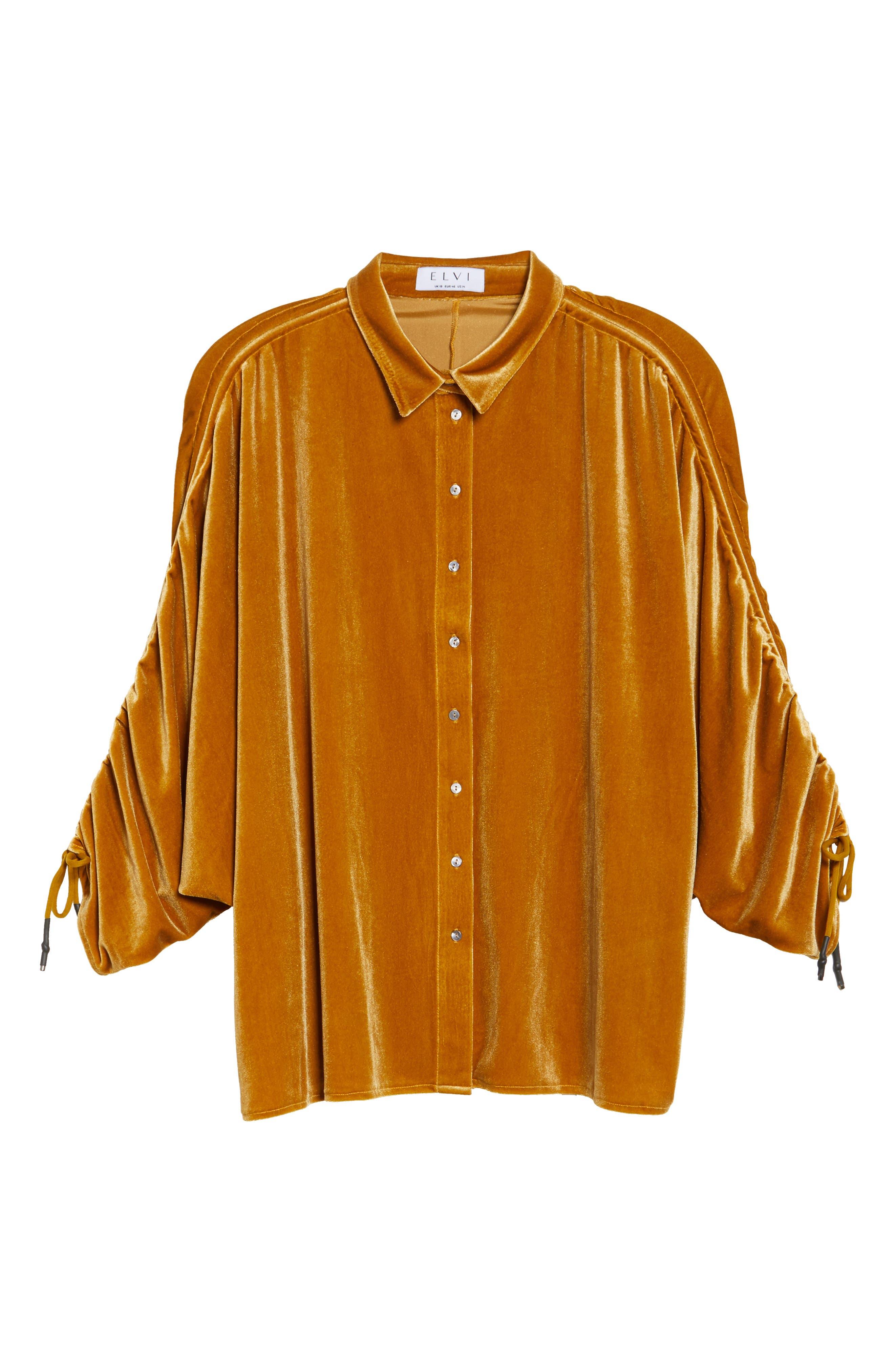 Velvet Velvet Gathered Sleeve Button Down Shirt,                             Alternate thumbnail 6, color,                             700
