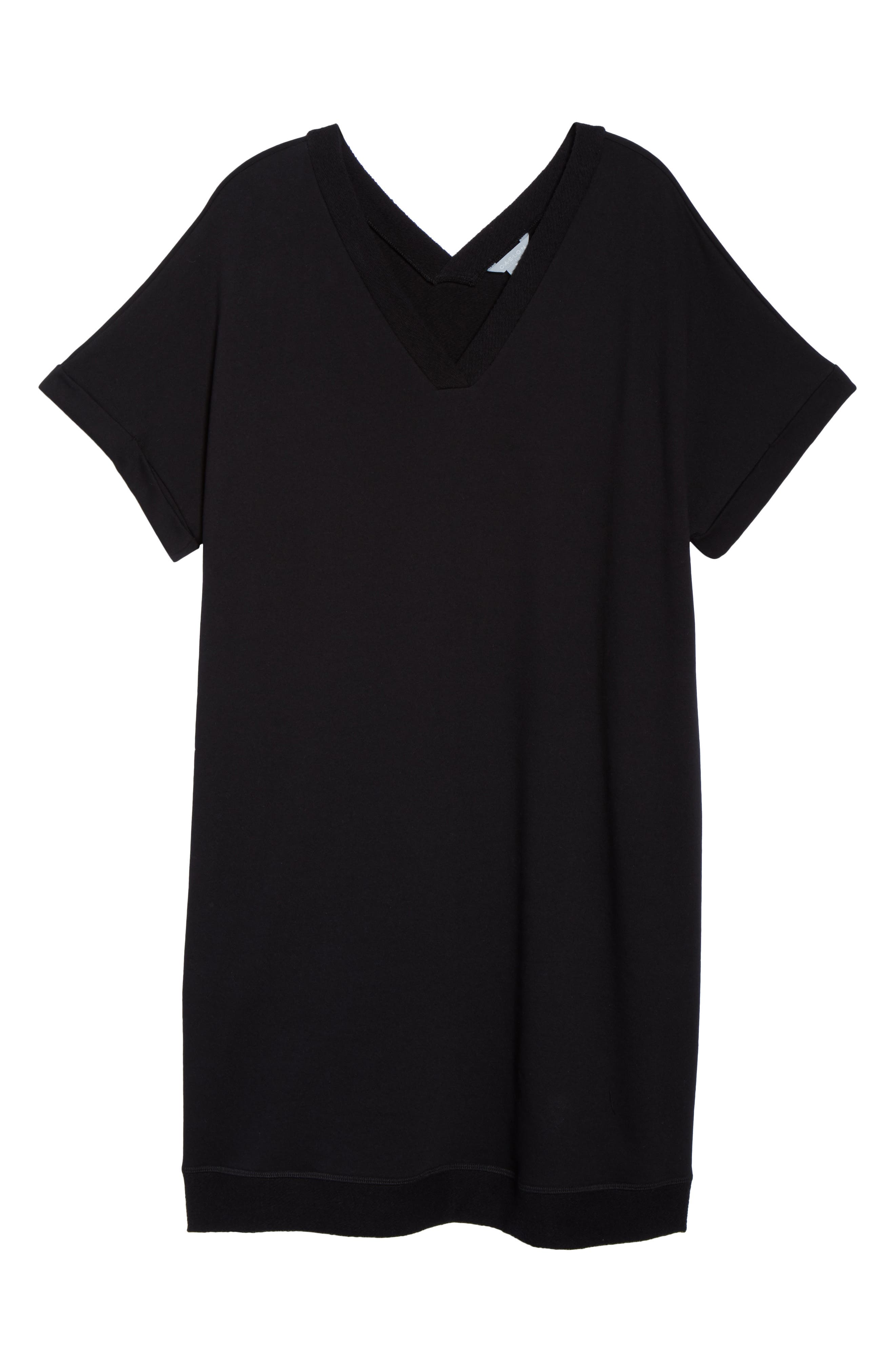 Off-Duty French Terry Dress,                             Alternate thumbnail 7, color,                             BLACK