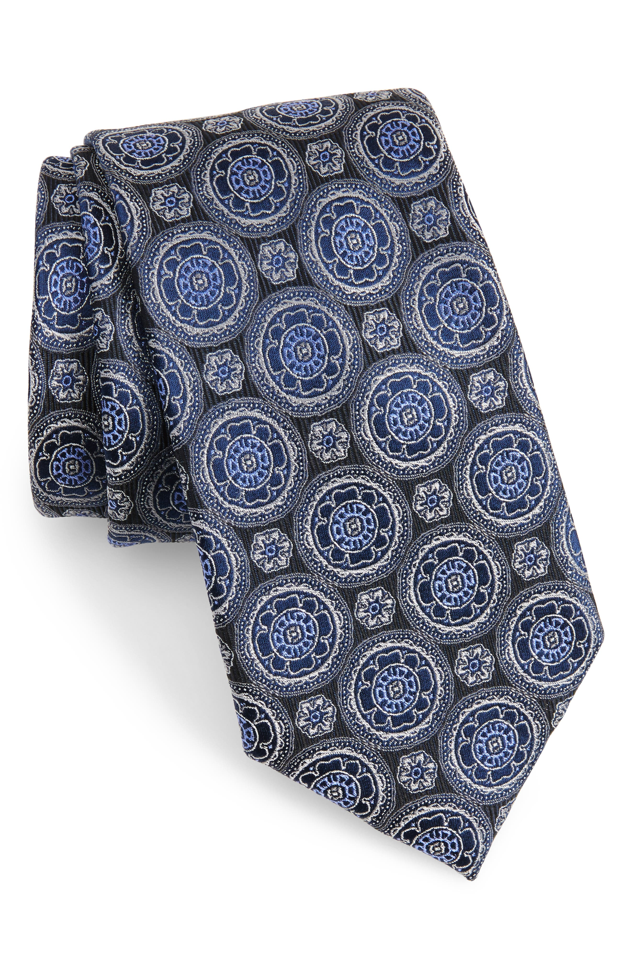 Kensington Medallion Silk Tie,                         Main,                         color, 001