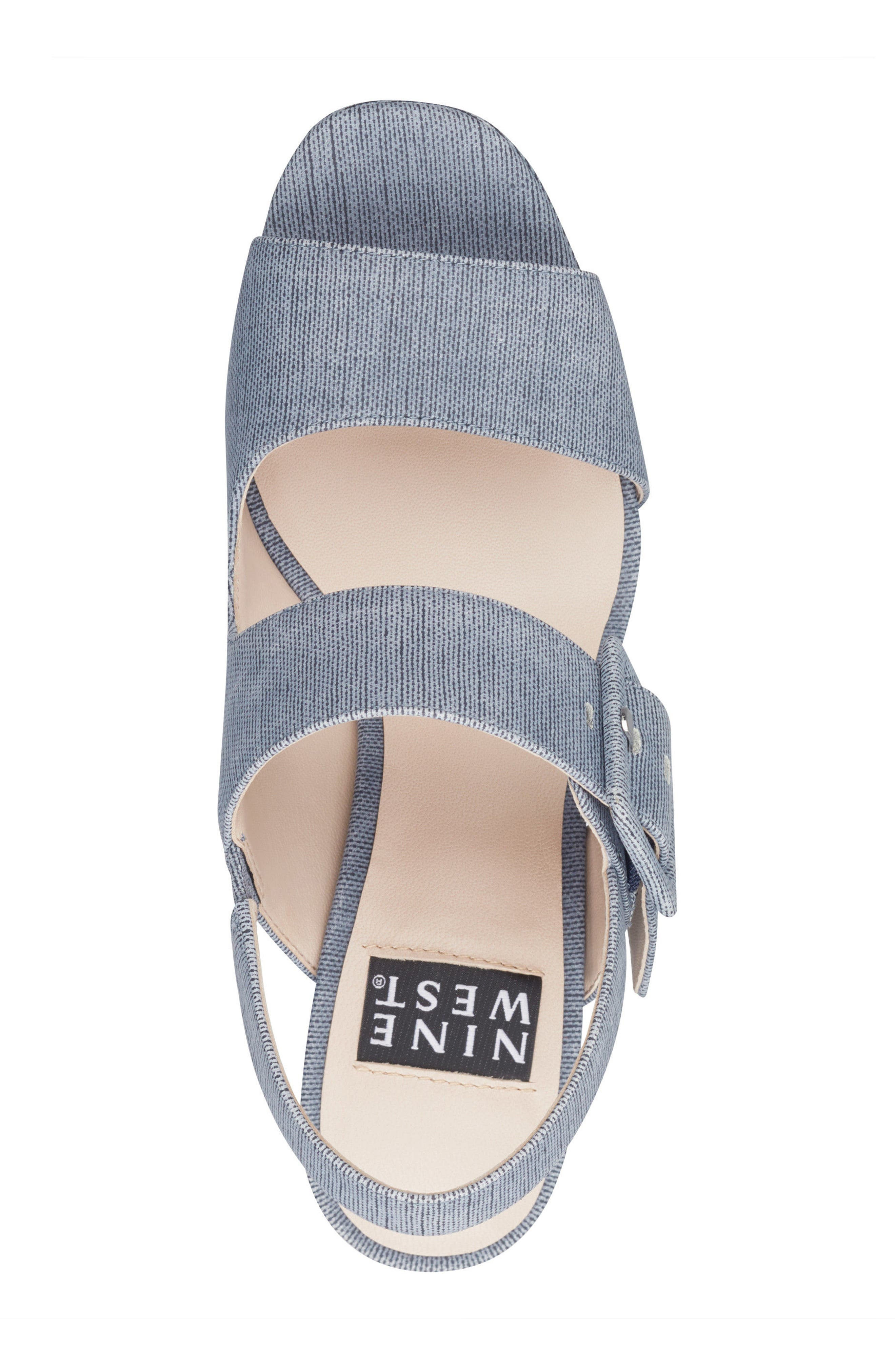 Lexine - 40th Anniversary Capsule Collection Platform Sandal,                             Alternate thumbnail 5, color,                             DARK BLUE FABRIC