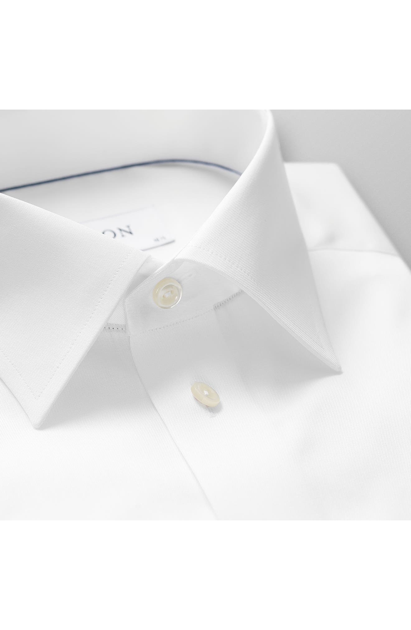 Classic Fit Twill Dress Shirt,                             Alternate thumbnail 5, color,                             WHITE