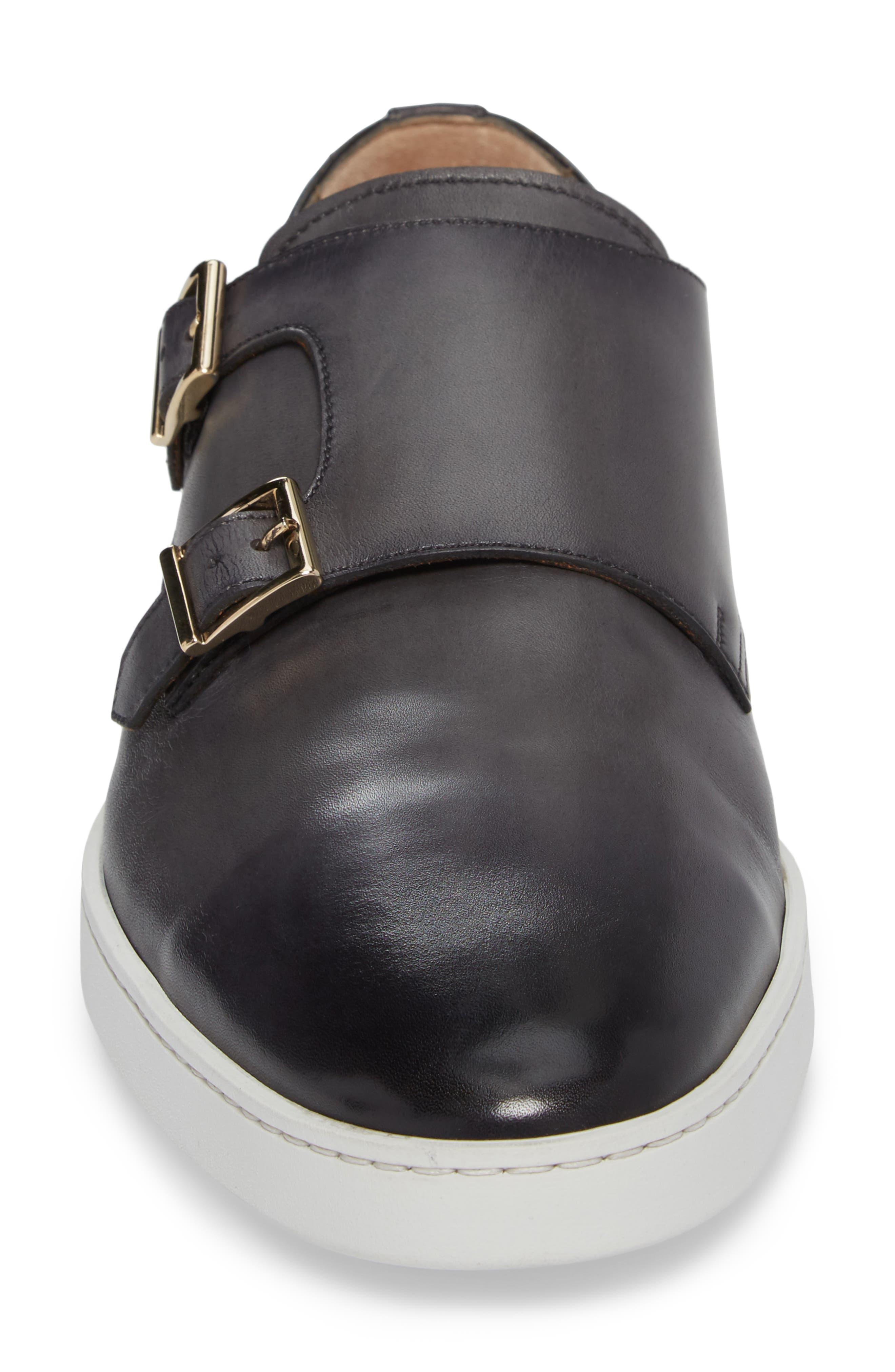 Freemont Double Monk Strap Shoe,                             Alternate thumbnail 4, color,                             GREY