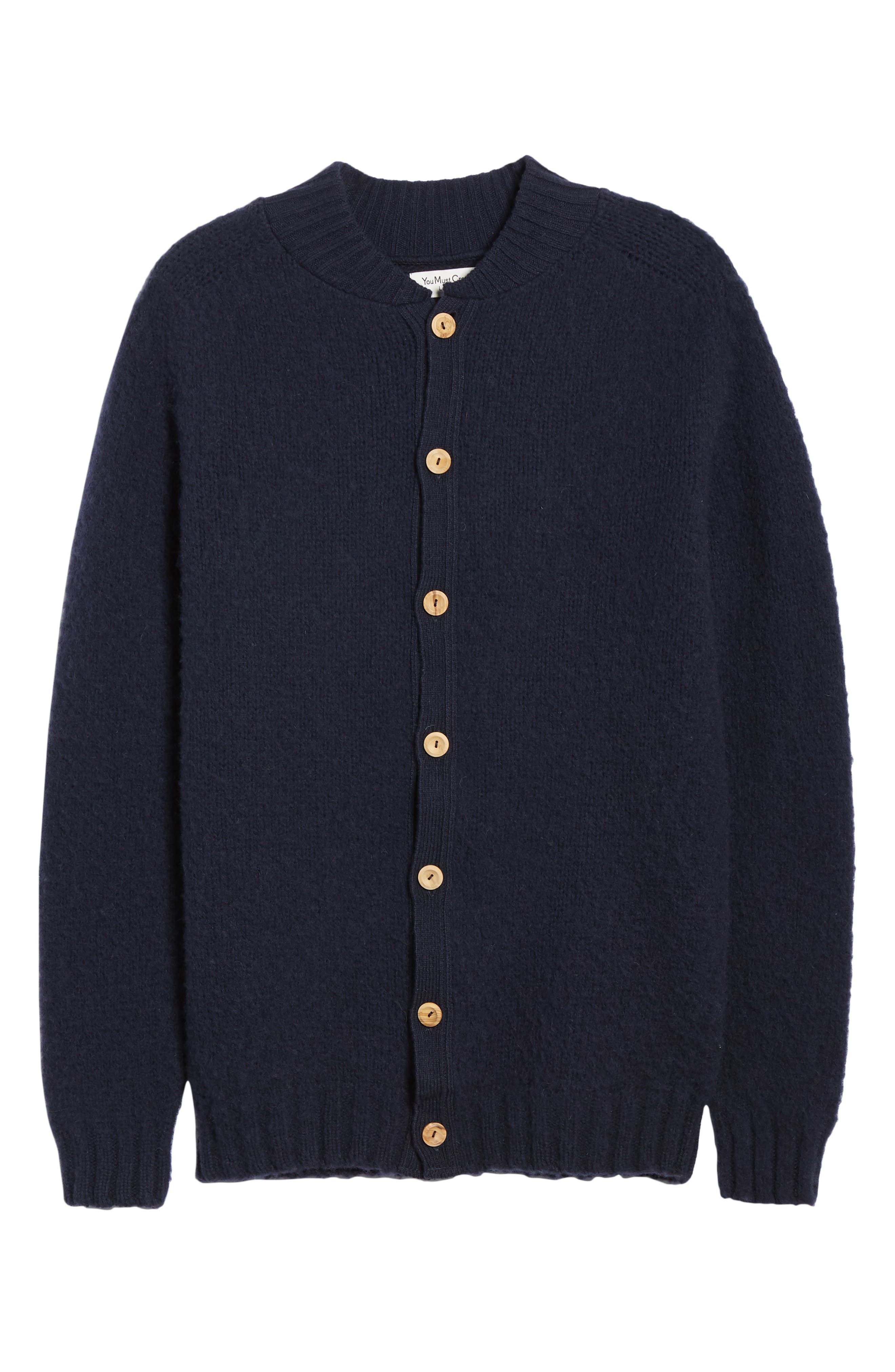 Baseball Cardy Wool Sweater,                             Alternate thumbnail 6, color,                             NAVY