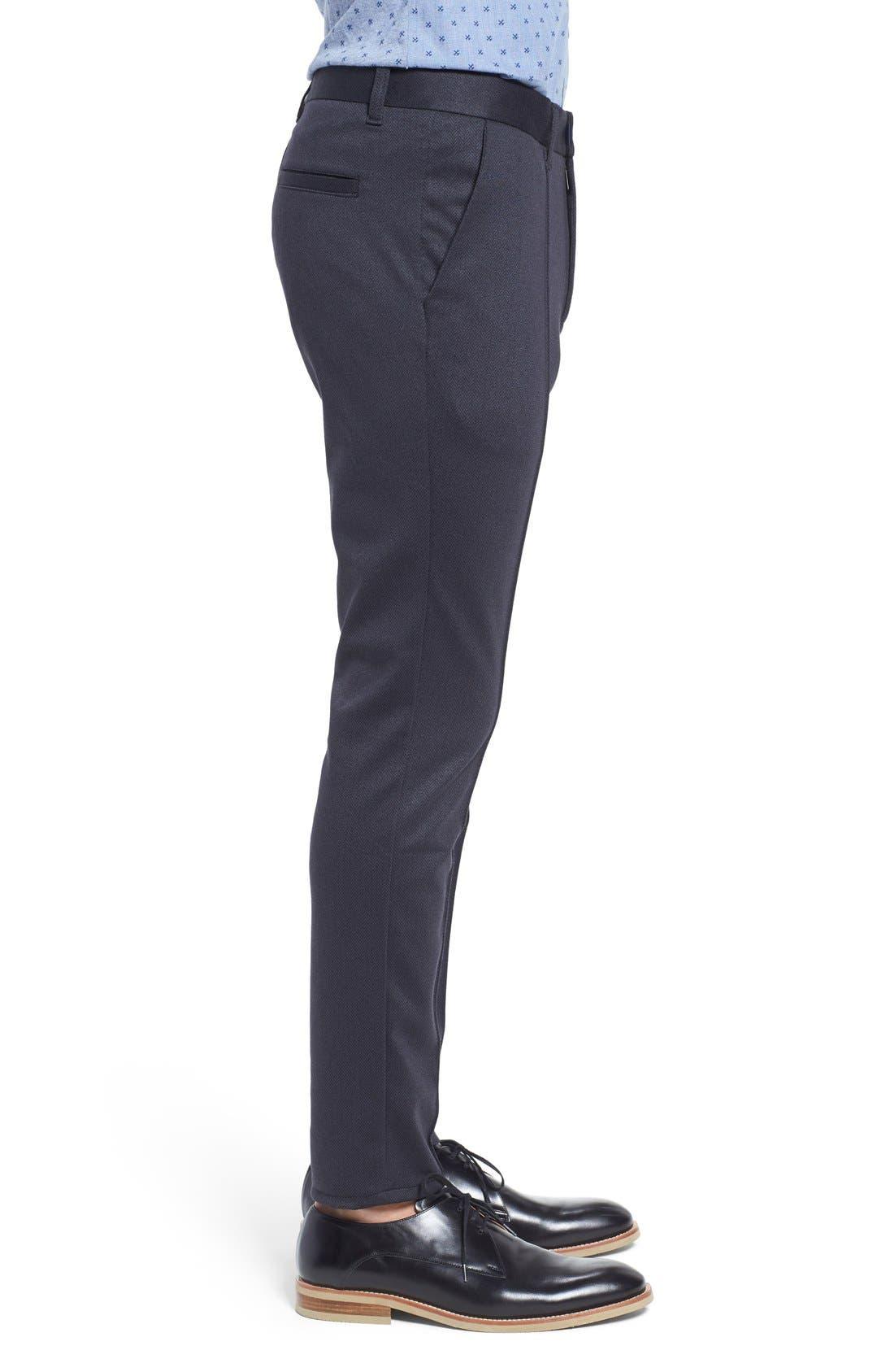 Prospect Herringbone Slim Fit Trousers,                             Alternate thumbnail 4, color,                             001